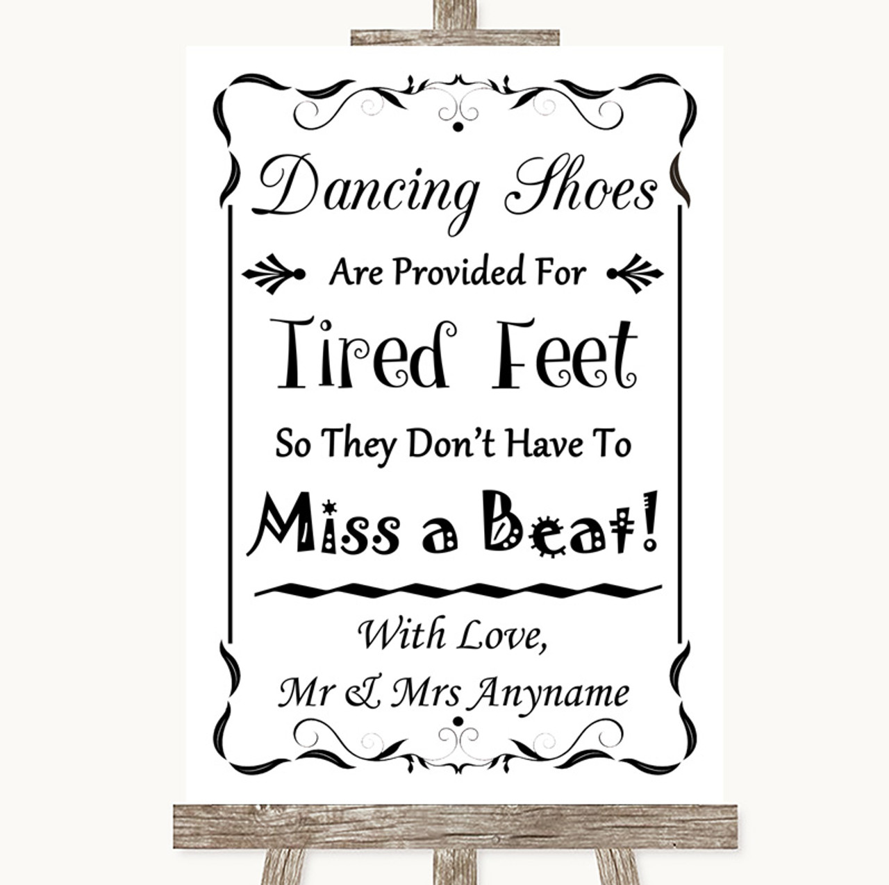 cdd8483aecbf7b Black   White Dancing Shoes Flip-Flop Tired Feet Personalised Wedding Sign