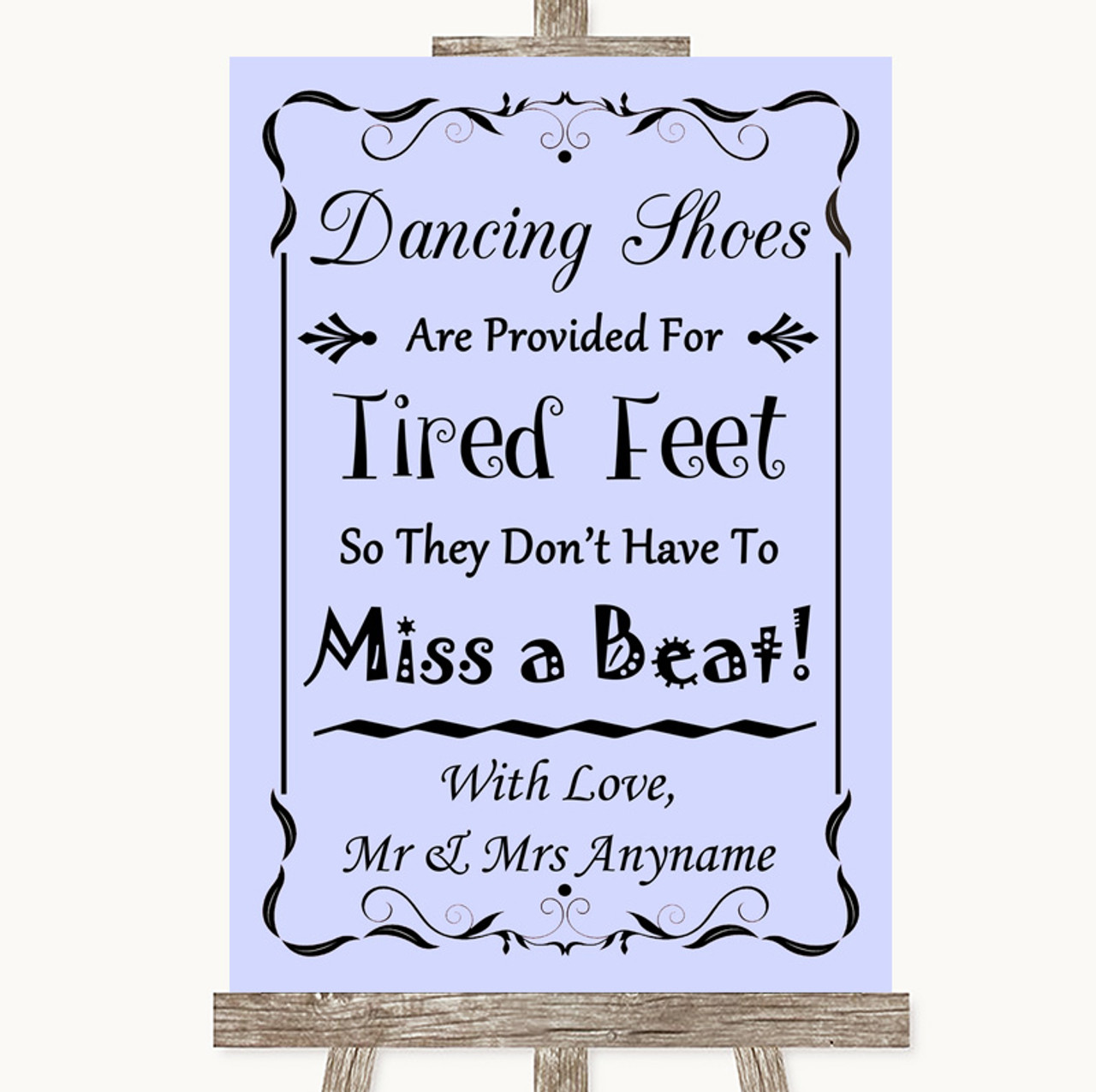 d3019a04c Lilac Dancing Shoes Flip-Flop Tired Feet Personalised Wedding Sign ...
