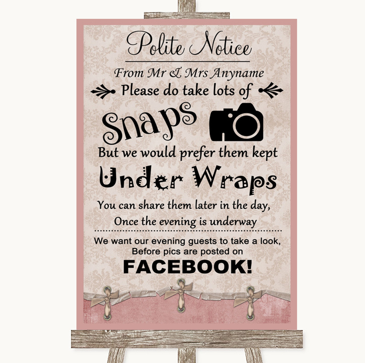 Shabby Chic Pink /& Cream Signing Frame Guestbook Wedding Sign Print