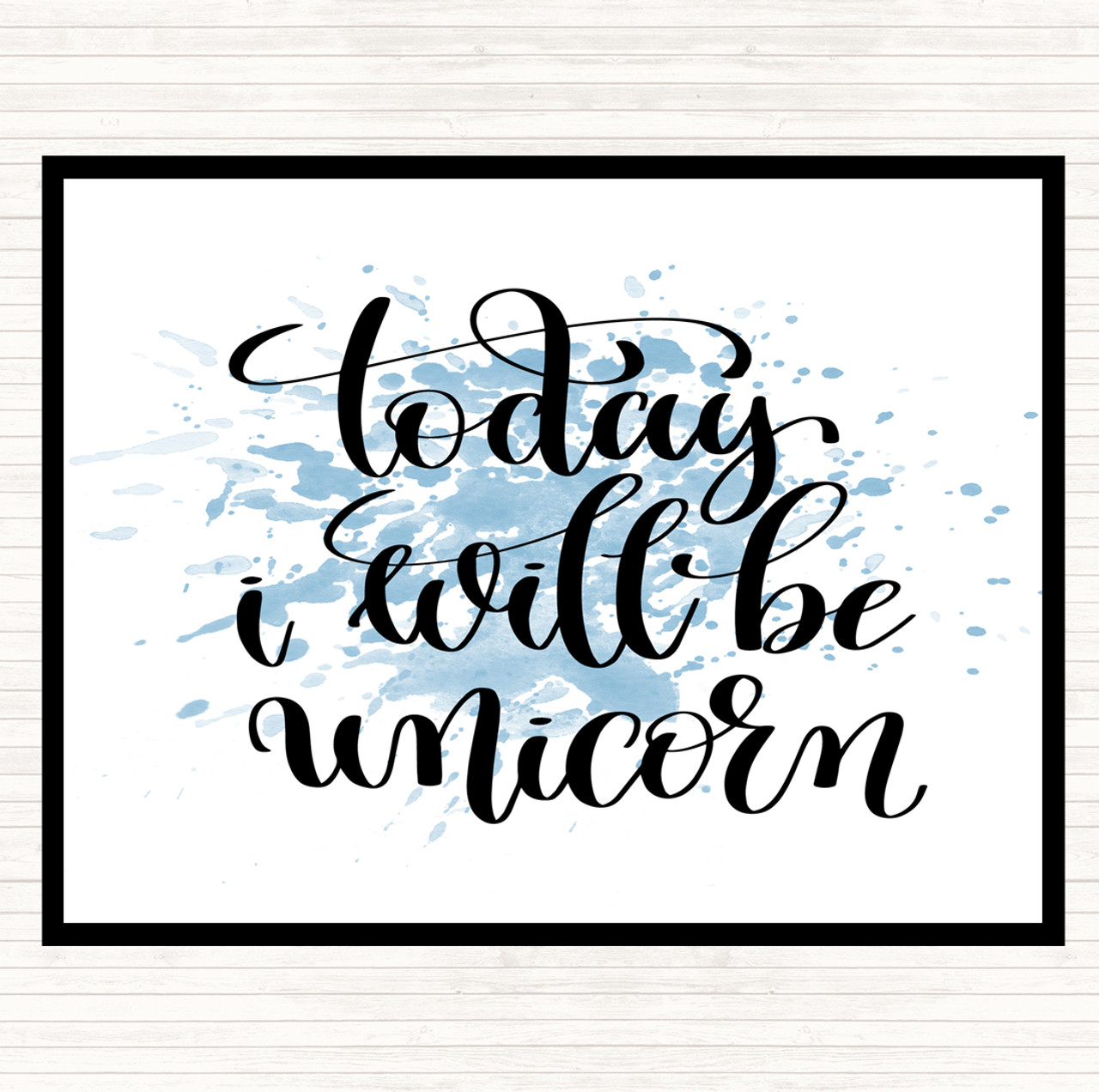 Blue White I Believe Unicorn Inspirational Quote Mouse Mat Pad
