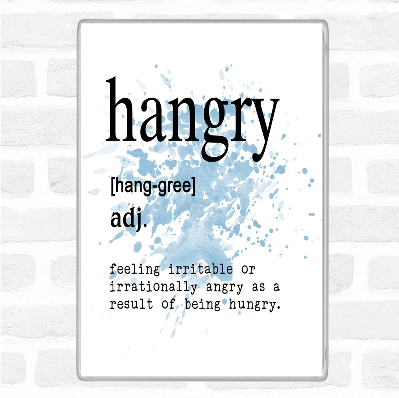 Black White Word Definition Hangry Quote Jumbo Fridge Magnet