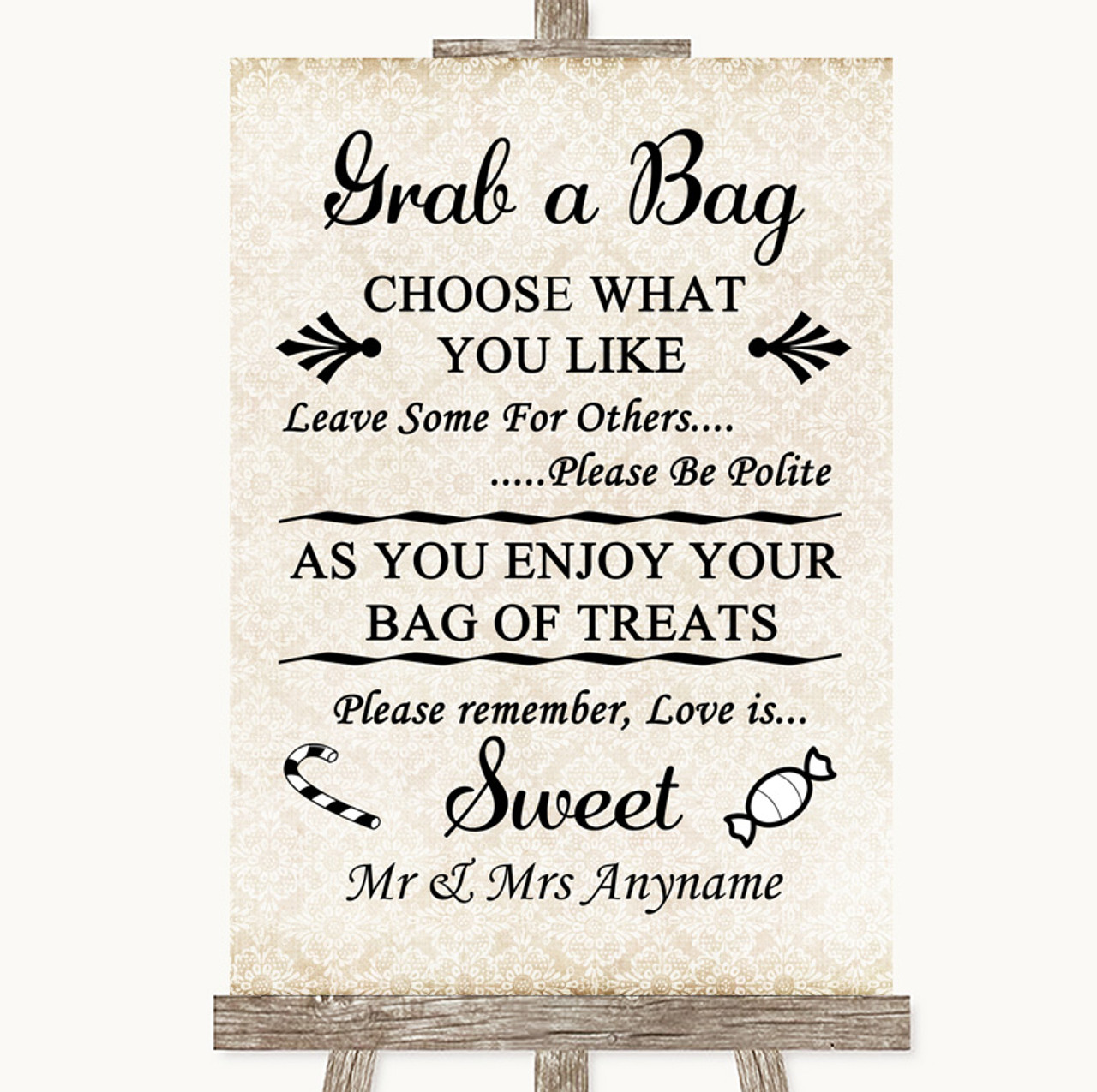Shabby Chic Ivory When I Tell You I Love You Personalised Wedding Sign