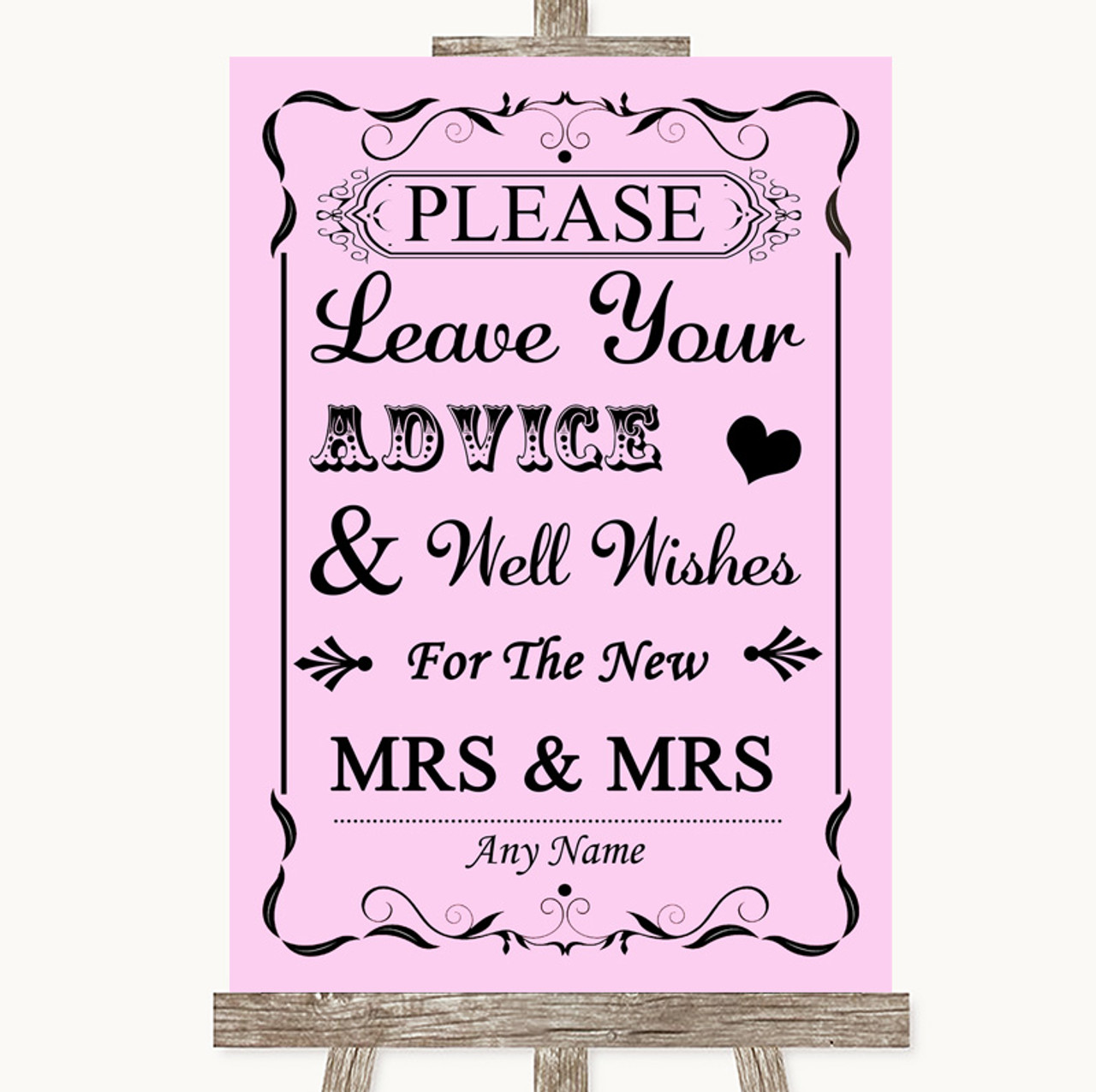 Lilac Purple Shabby Chic Guestbook Advice /& Wishes Lesbian Wedding Sign Print
