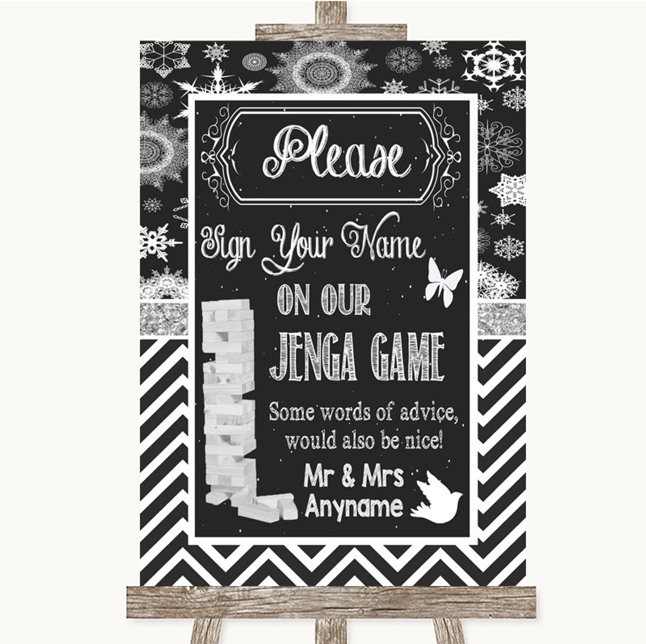 Shabby Chic Chalk Jenga Guest Book Personalised Wedding Sign