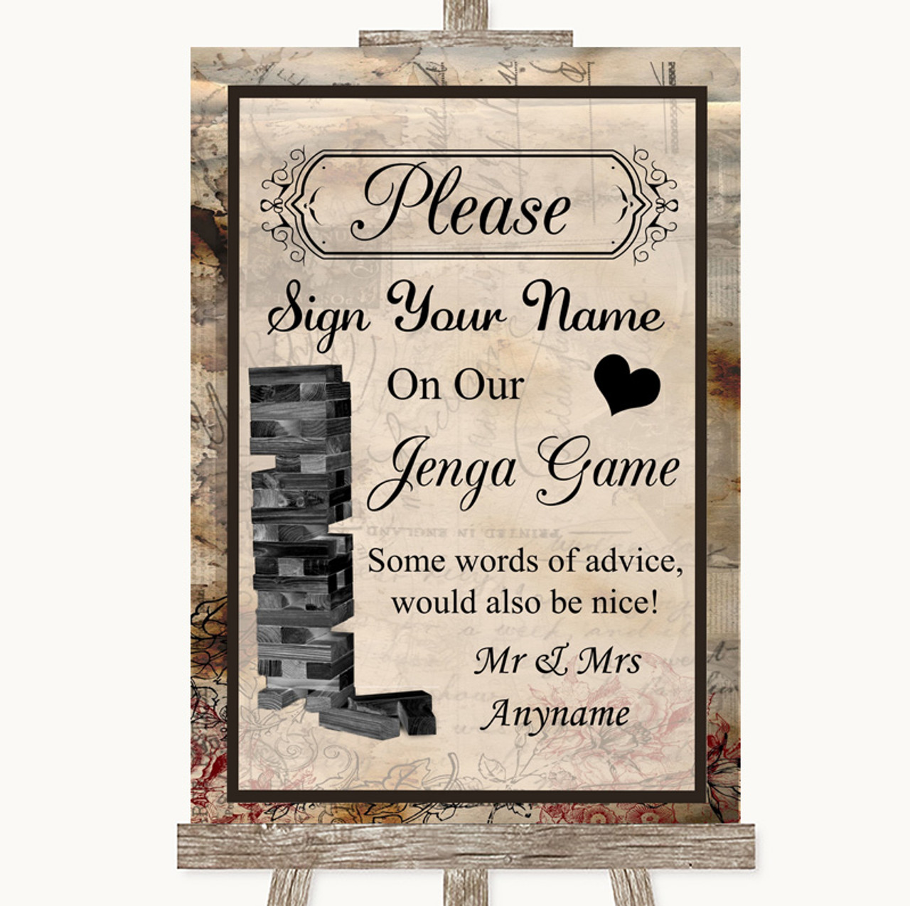 a7950494e286f Vintage Jenga Guest Book Personalised Wedding Sign