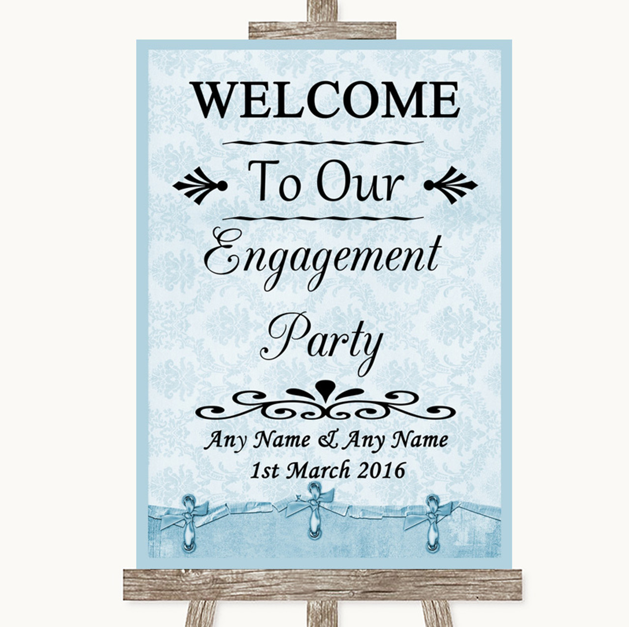 Blue Burlap /& Lace Welcome To Our Engagement Party Personalised Wedding Sign