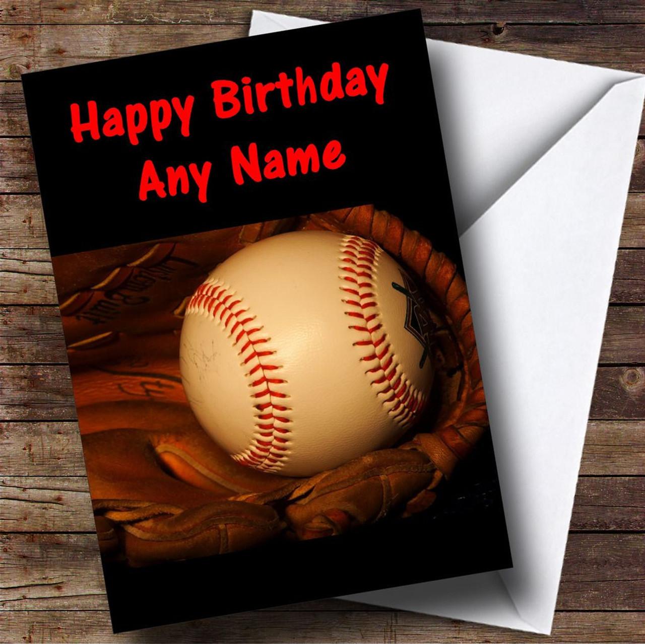 Baseball Ball Glove Personalised Birthday Card