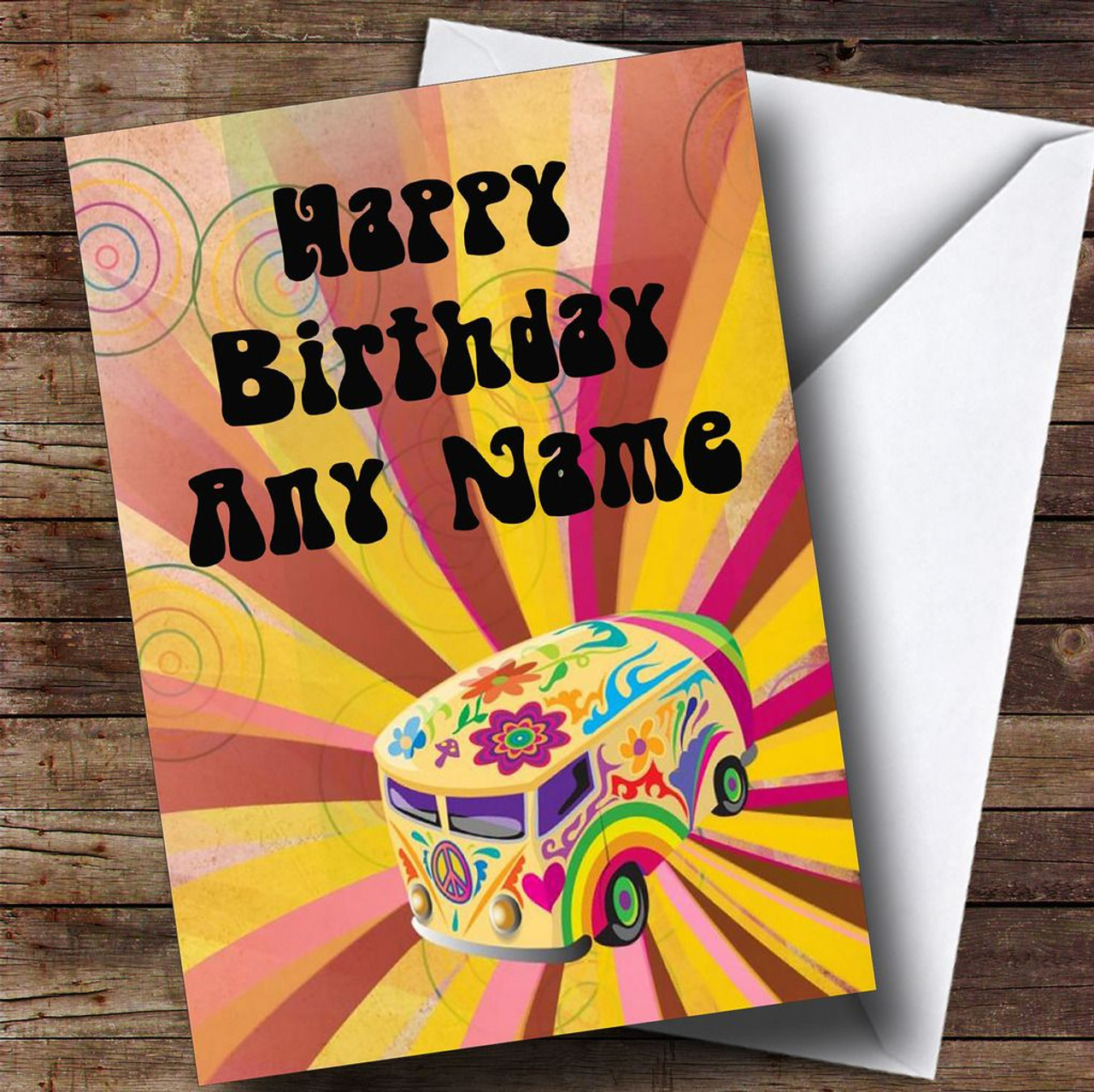 4184d3e87a Retro Campervan Hippie Personalised Birthday Card - The Card Zoo