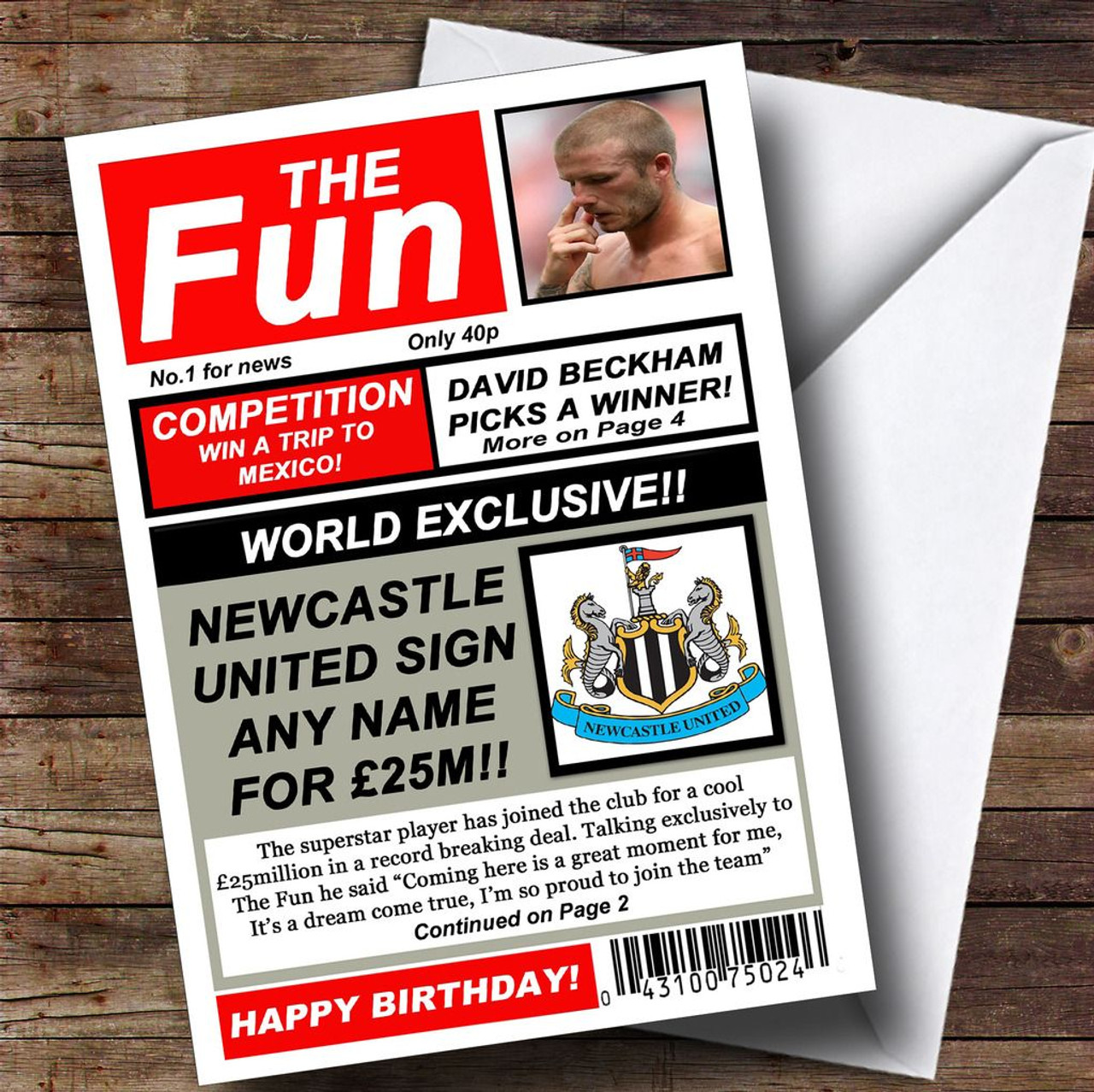 Newcastle United Football Fan Funny Newspaper Personalised Birthday Card