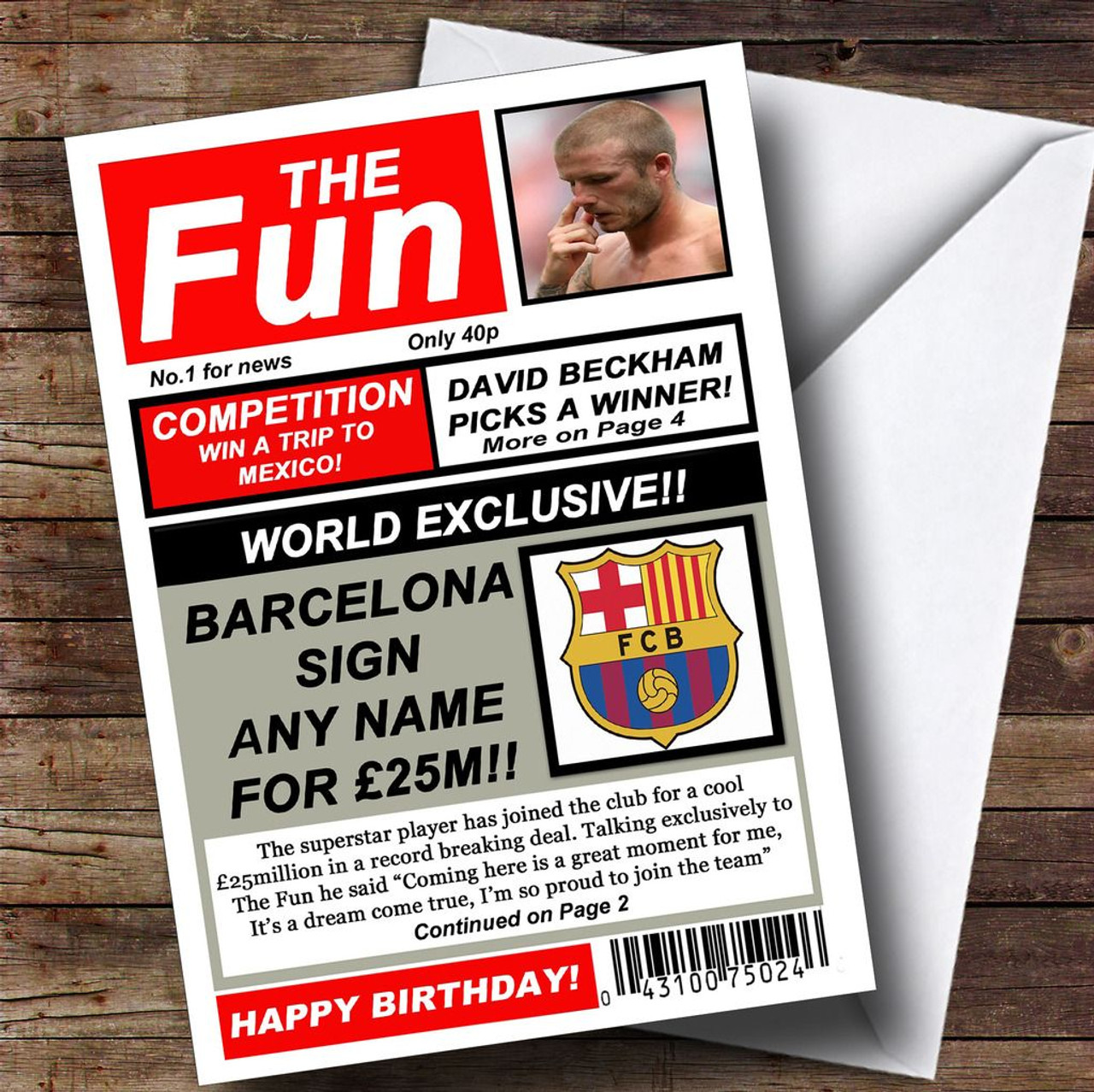 Barcelona Football Fan Funny Newspaper Personalised Birthday Card