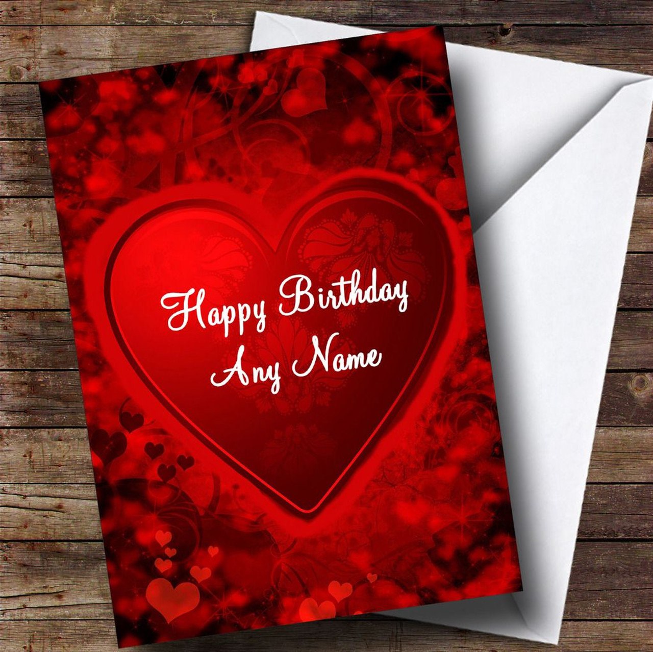Red And Black Love Heart Romantic Personalised Birthday Card
