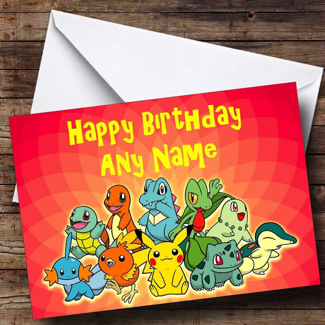 Red Pokemon Personalised Birthday Card