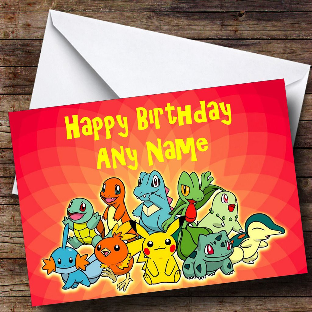 Red Pokemon Personalised Birthday Card