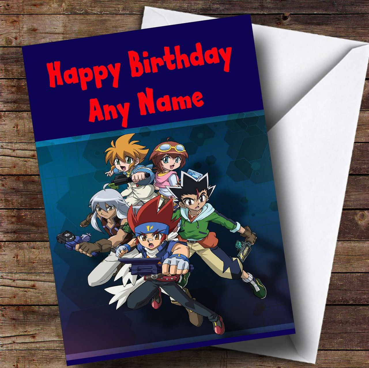 graphic about Printable Children's Birthday Cards identified as Beyblade Steel Customized Childrens Birthday Card