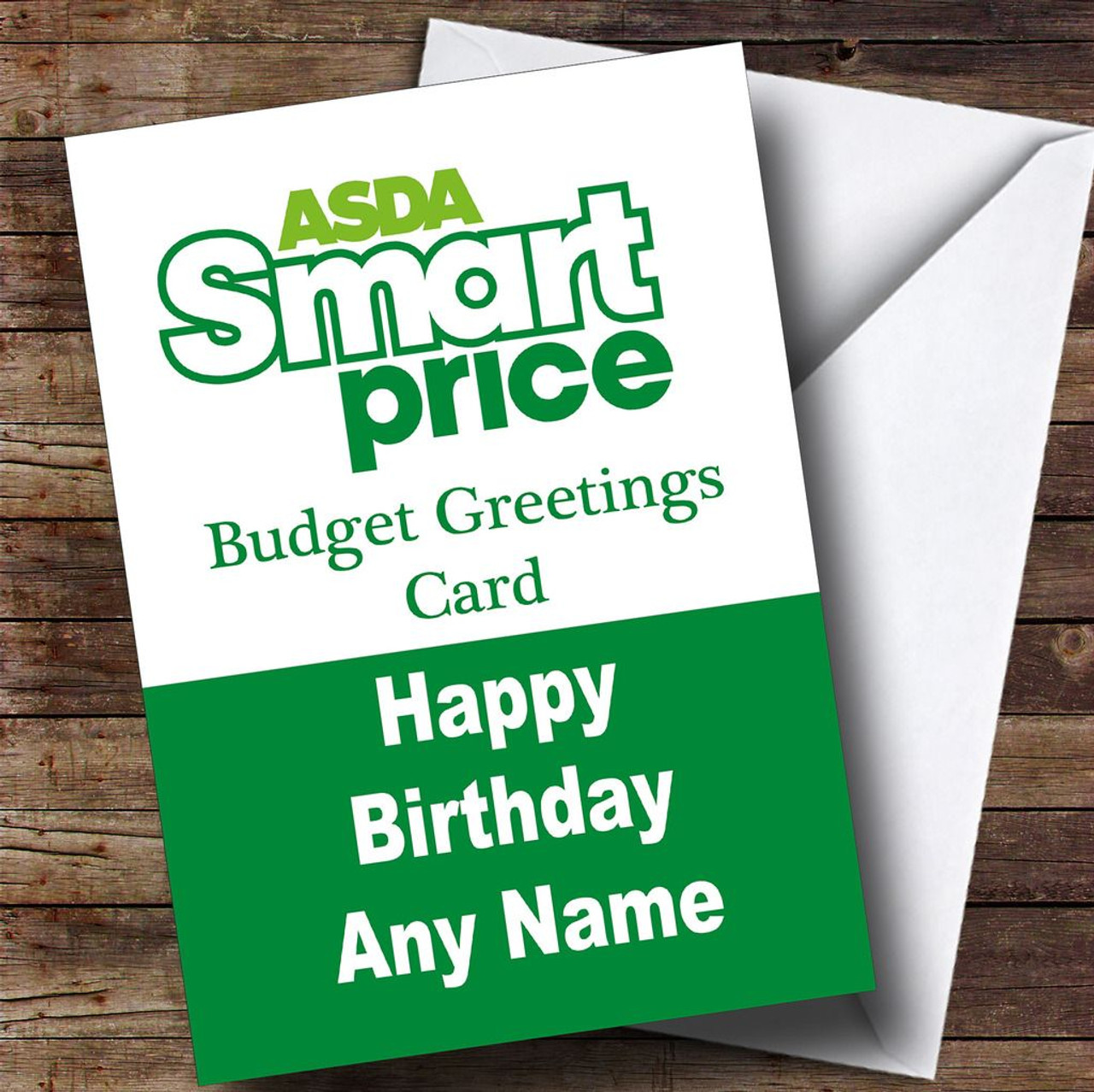Funny Joke Asda Smart Price Spoof Personalised Birthday Card