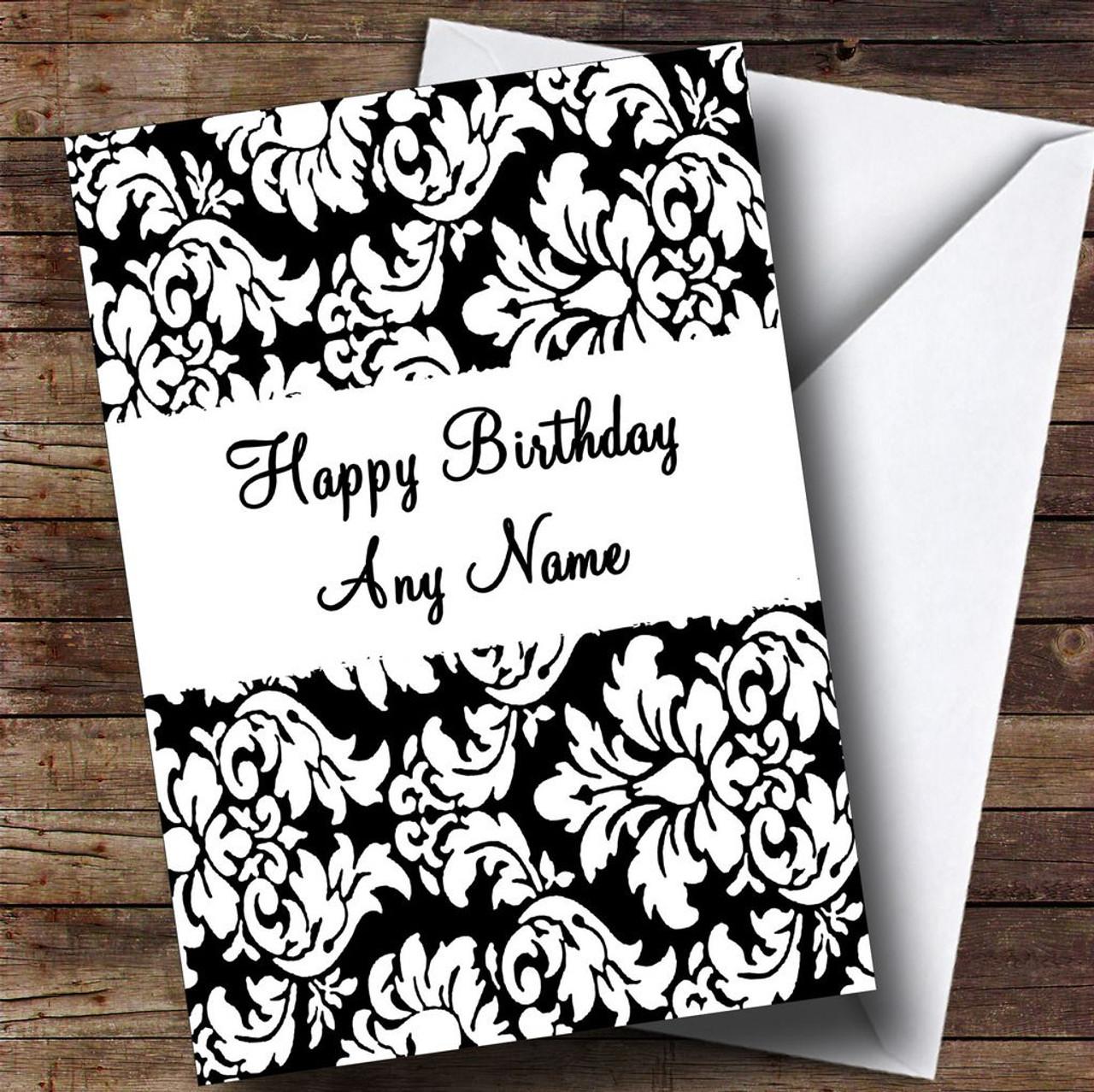 Floral Black White Damask Personalised Birthday Card