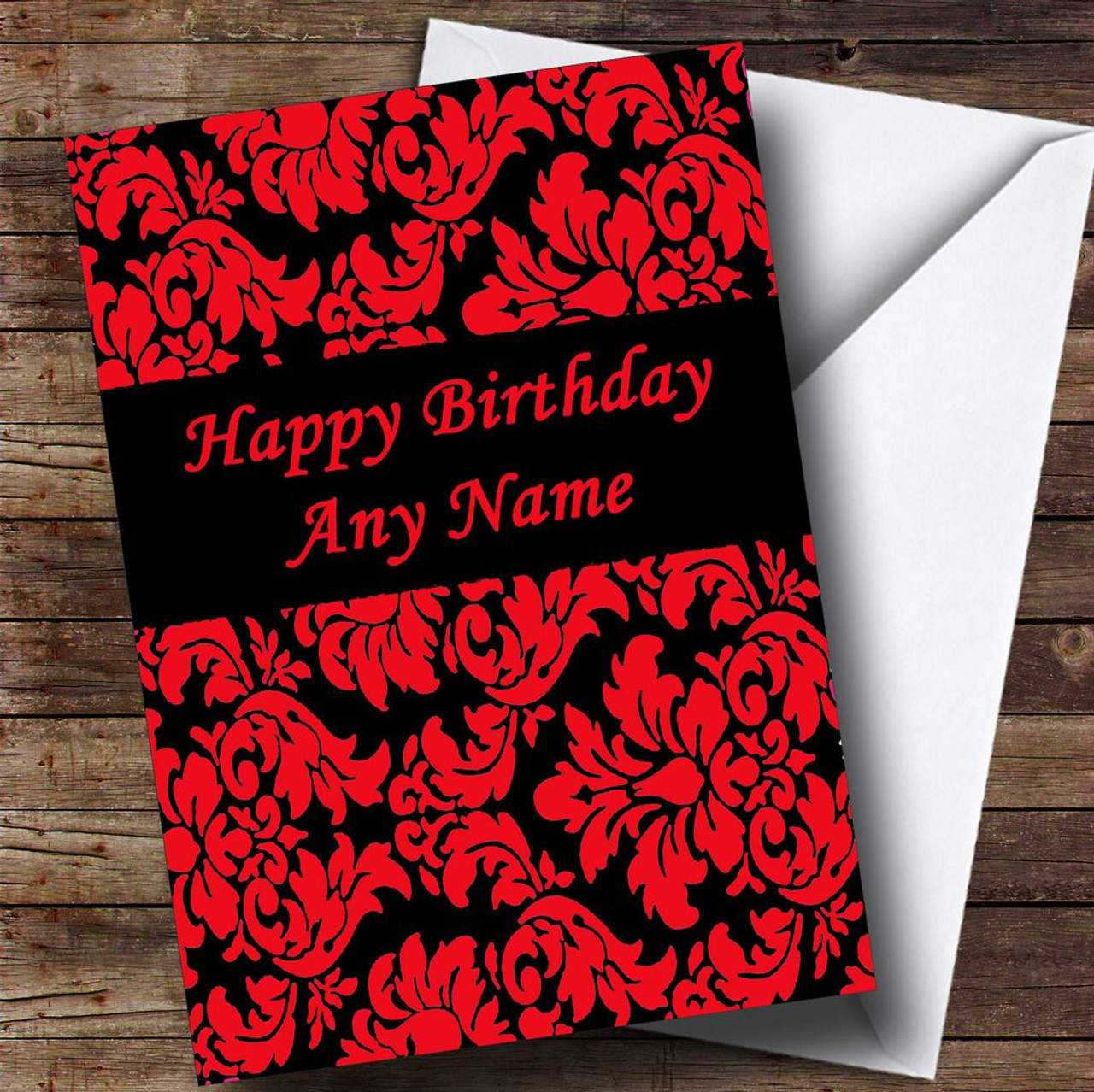 Floral Black Red Damask Personalised Birthday Card