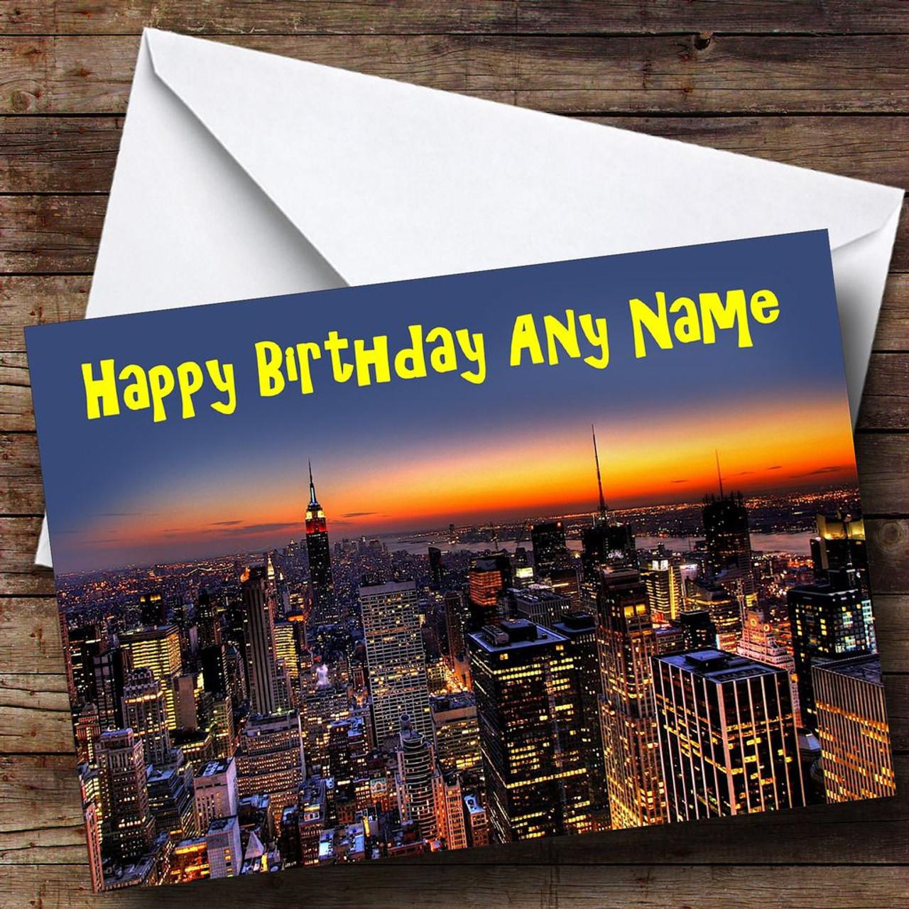 New York Skyline At Sunset Personalised Birthday Card
