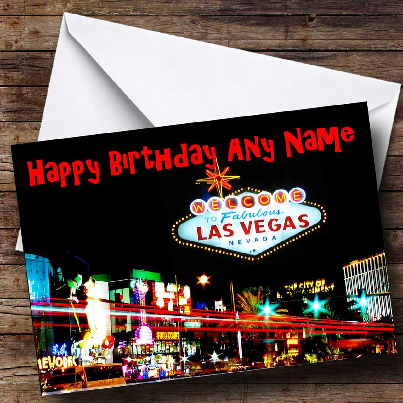 Las Vegas America Personalised Birthday Card