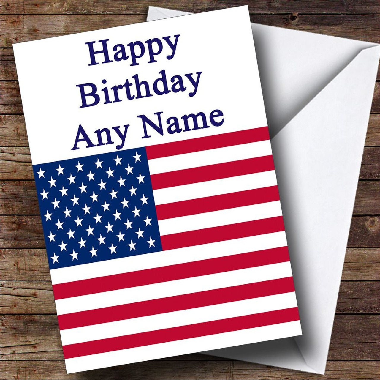 Usa American Flag Personalised Birthday Card