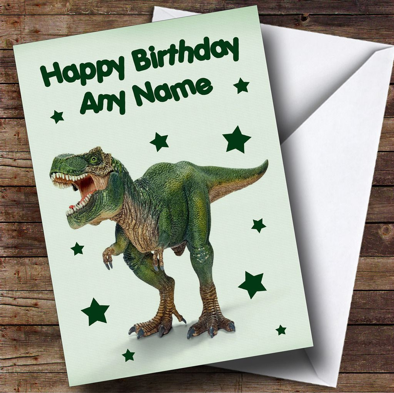 Scary Green T Rex Dinosaur Personalised Childrens Birthday Card