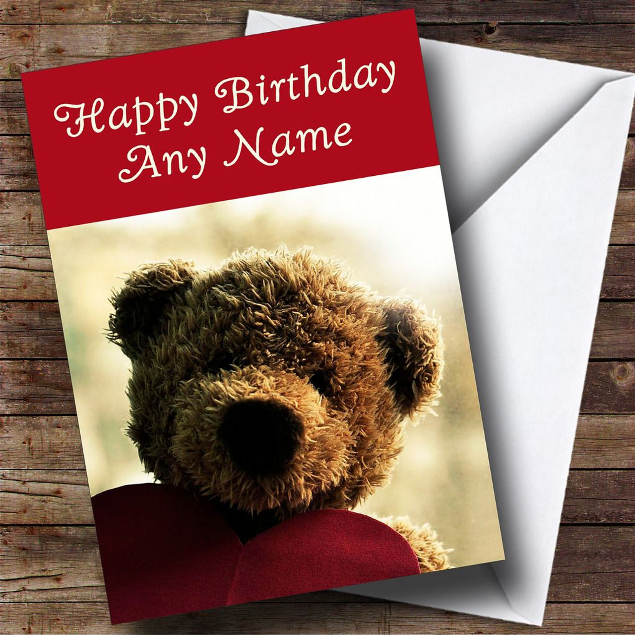 Cute Teddy Bear Love Personalised Birthday Card