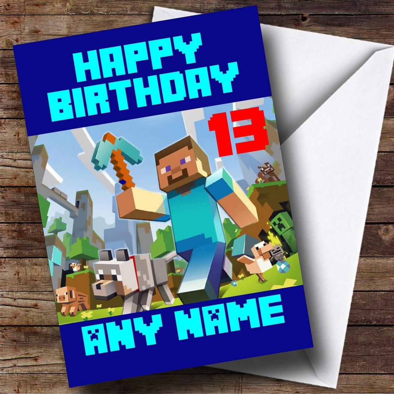 Minecraft Personalised Birthday Card
