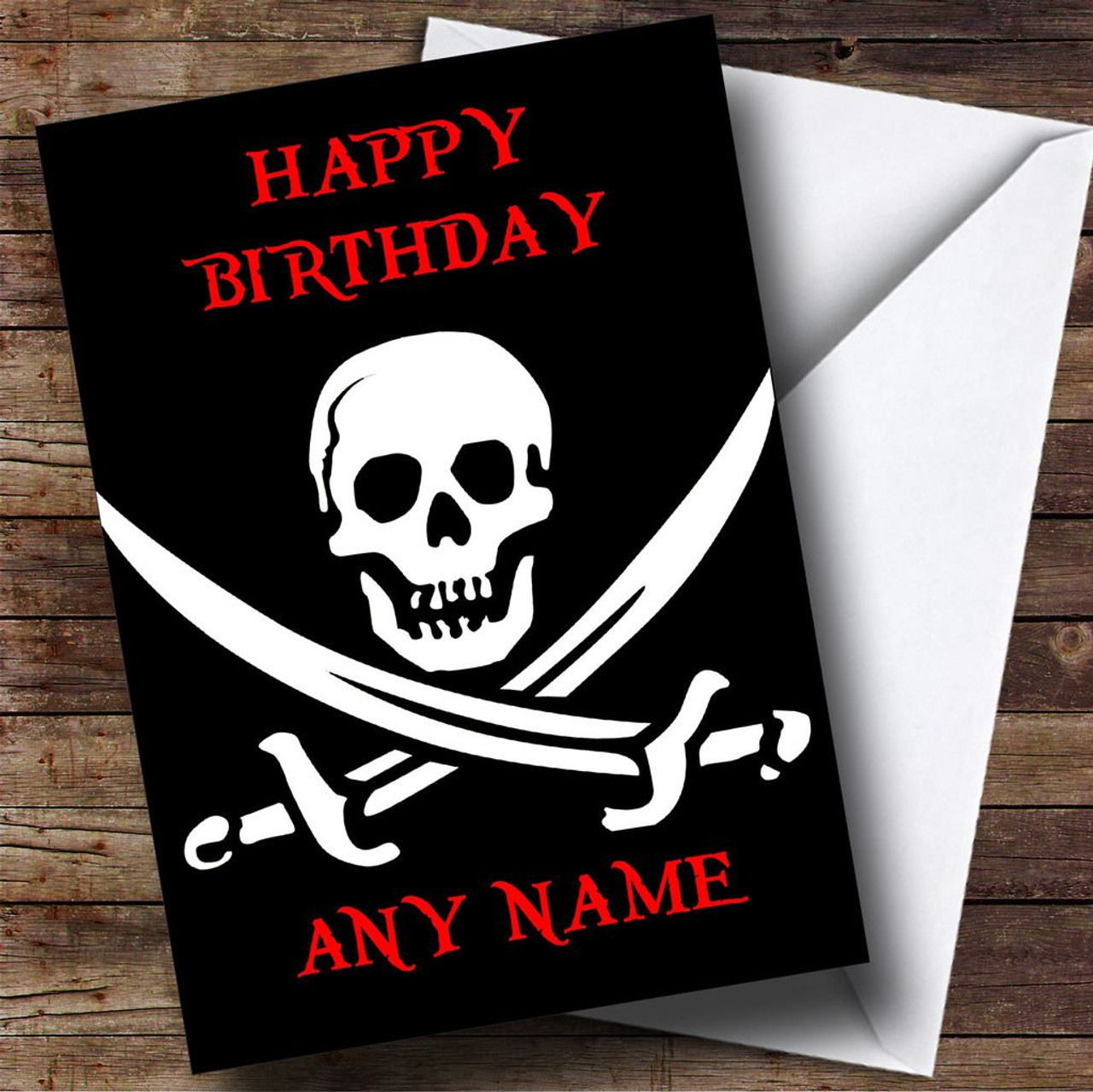 Skull Crossbones Pirate Personalised Birthday Card