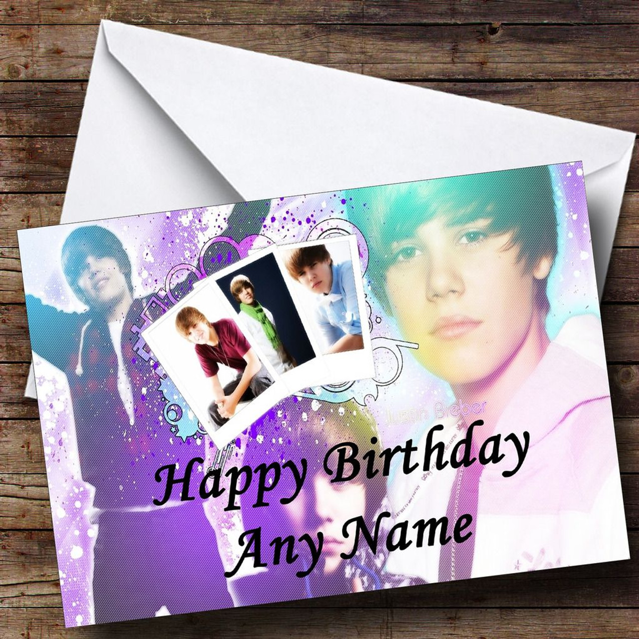 Purple Justin Bieber Personalised Birthday Card