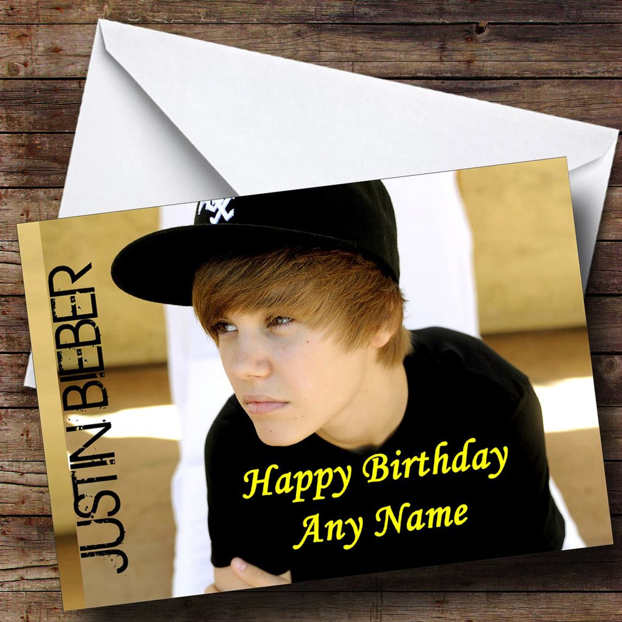 Justin Bieber Wearing Cap Personalised Birthday Card