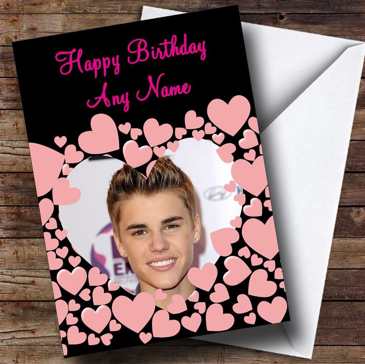 Justin Bieber Pink Hearts Personalised Birthday Card