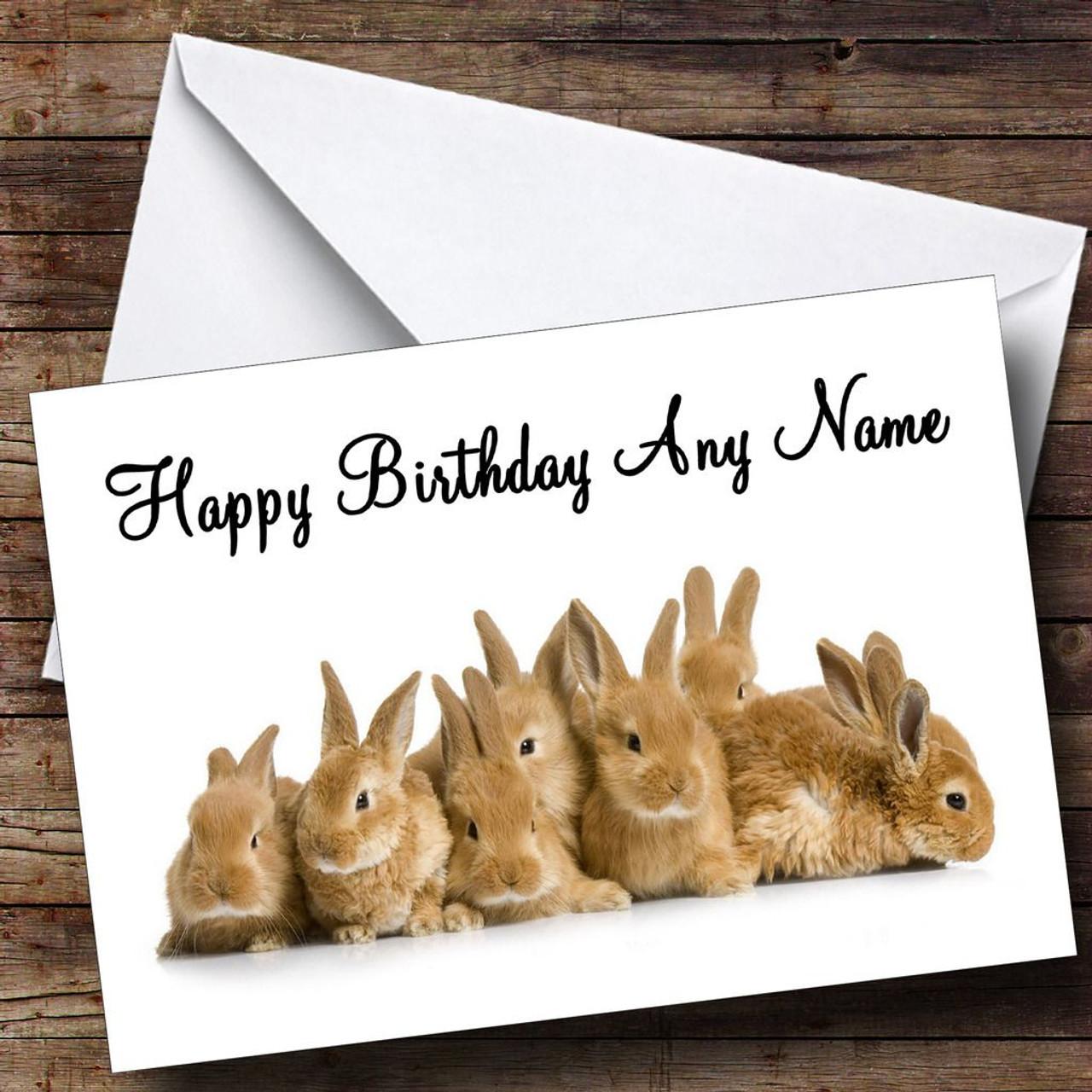 Lots Of Bunny Rabbits Personalised Birthday Card