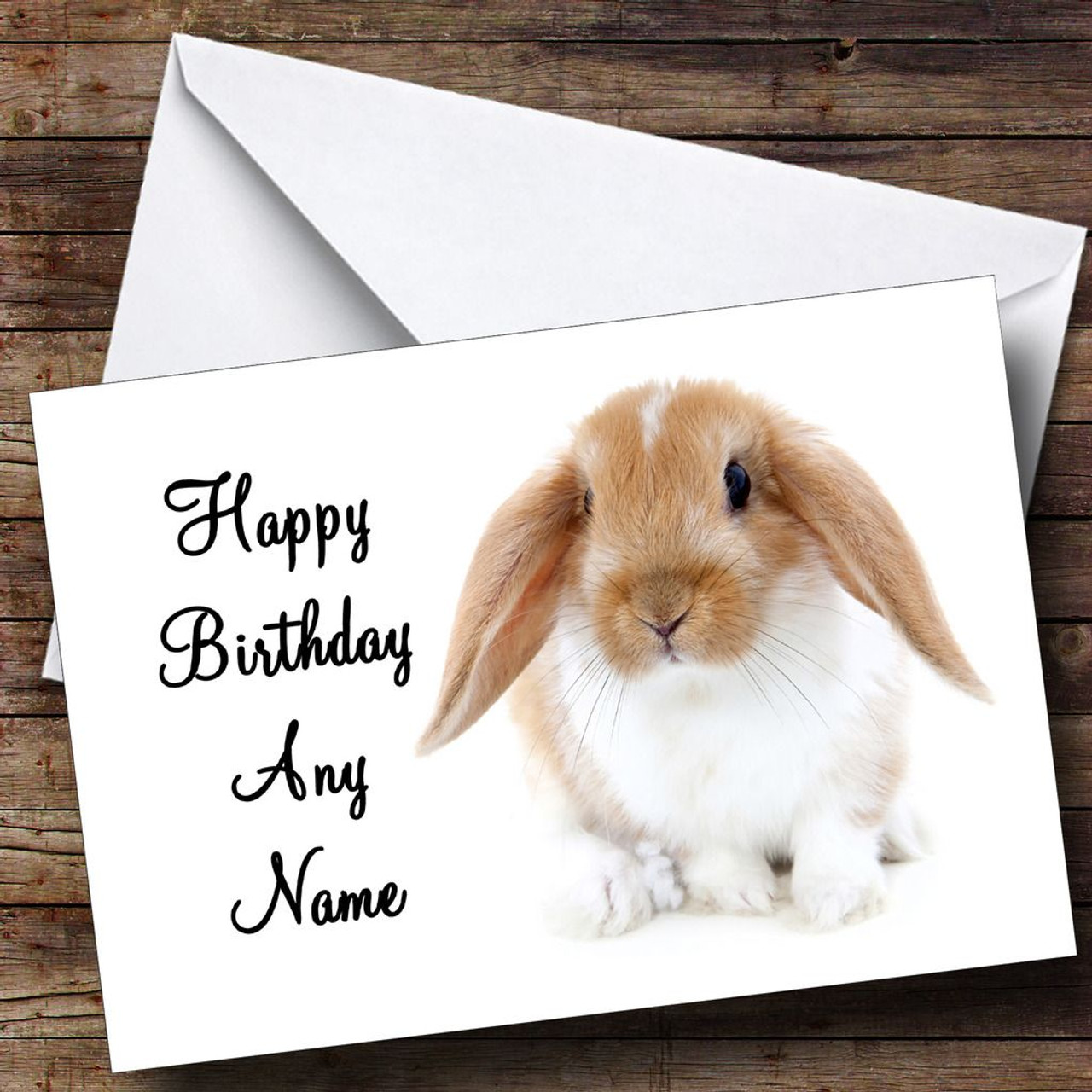 Cute Bunny Rabbit Personalised Birthday Card