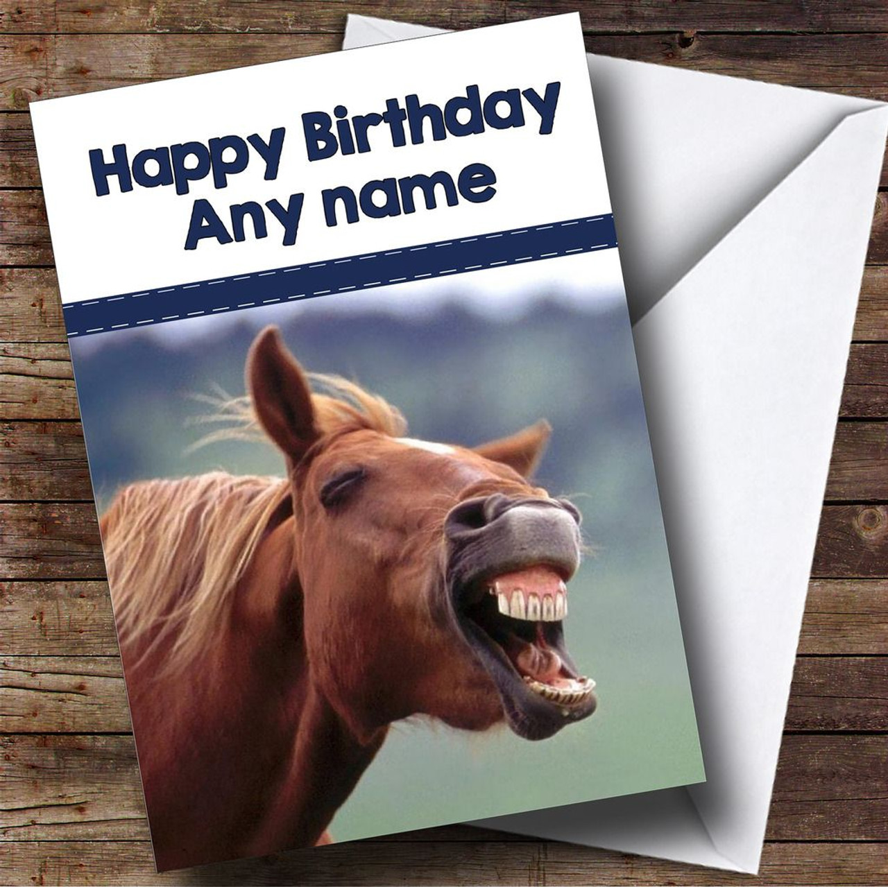 Funny Laughing Horse Personalised Birthday Card The Card Zoo