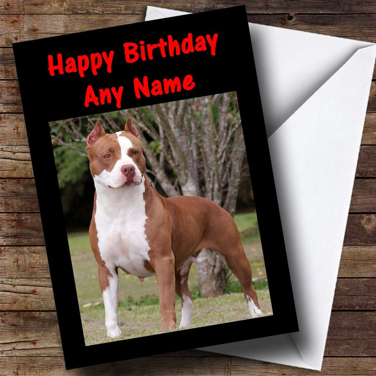 American Pitbull Dog Personalised Birthday Card - The Card Zoo
