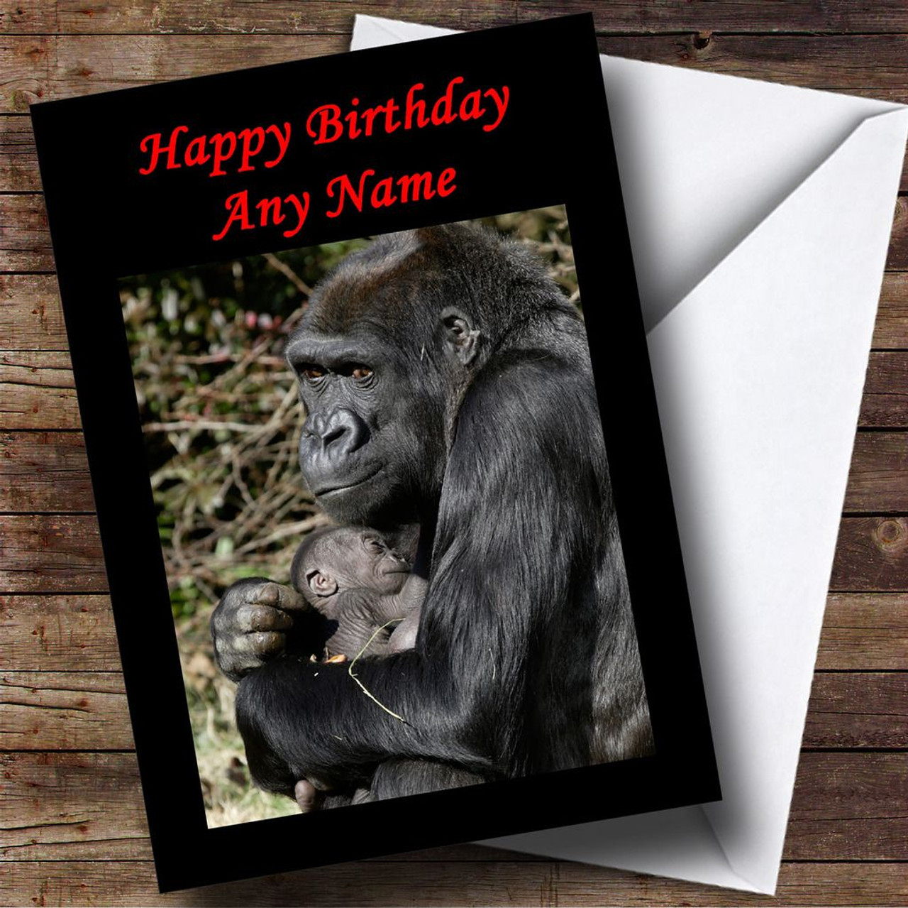 Gorilla Cuddling Baby Personalised Birthday Card