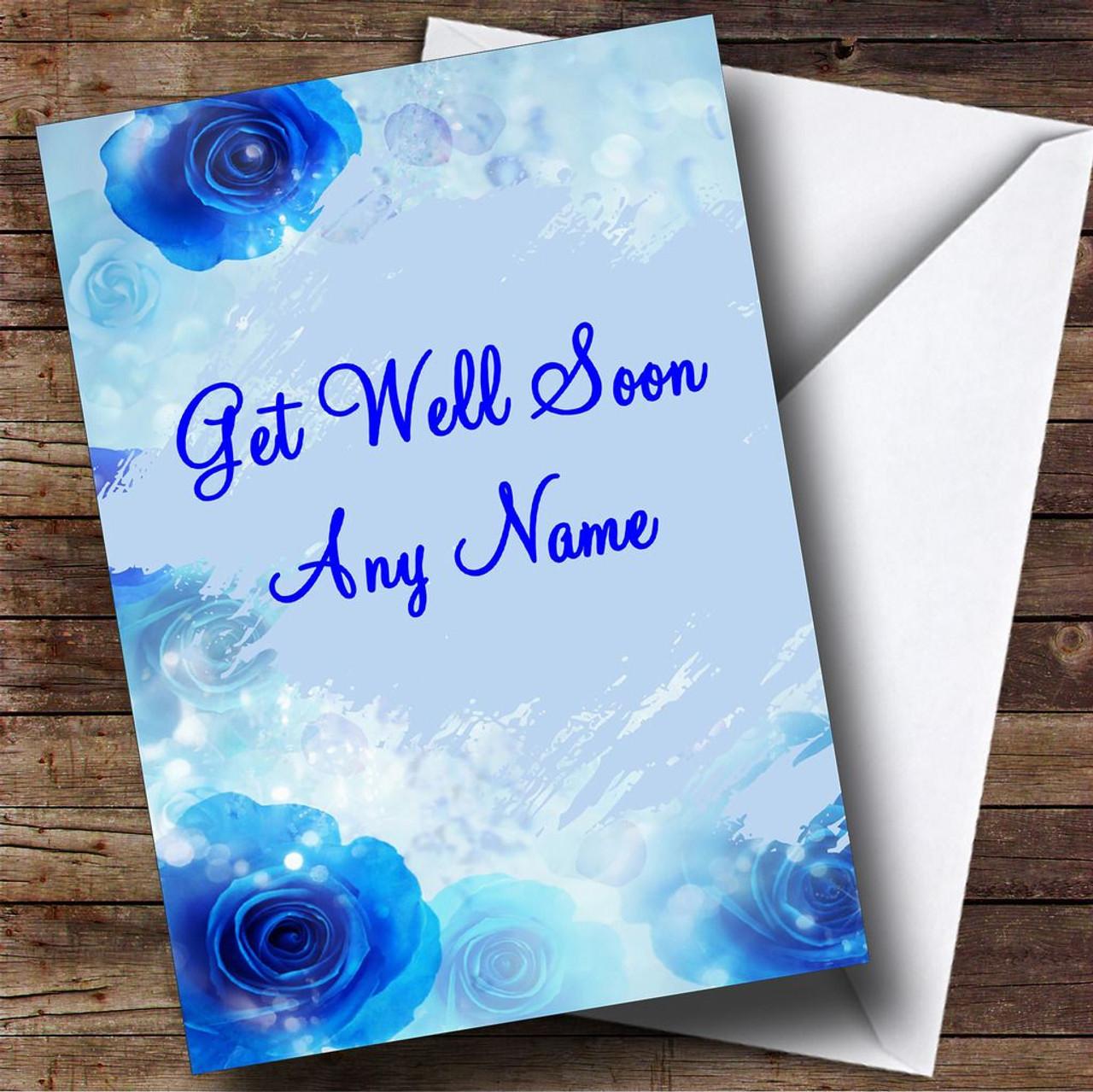 Blue Flowers Personalised Get Well Soon Card
