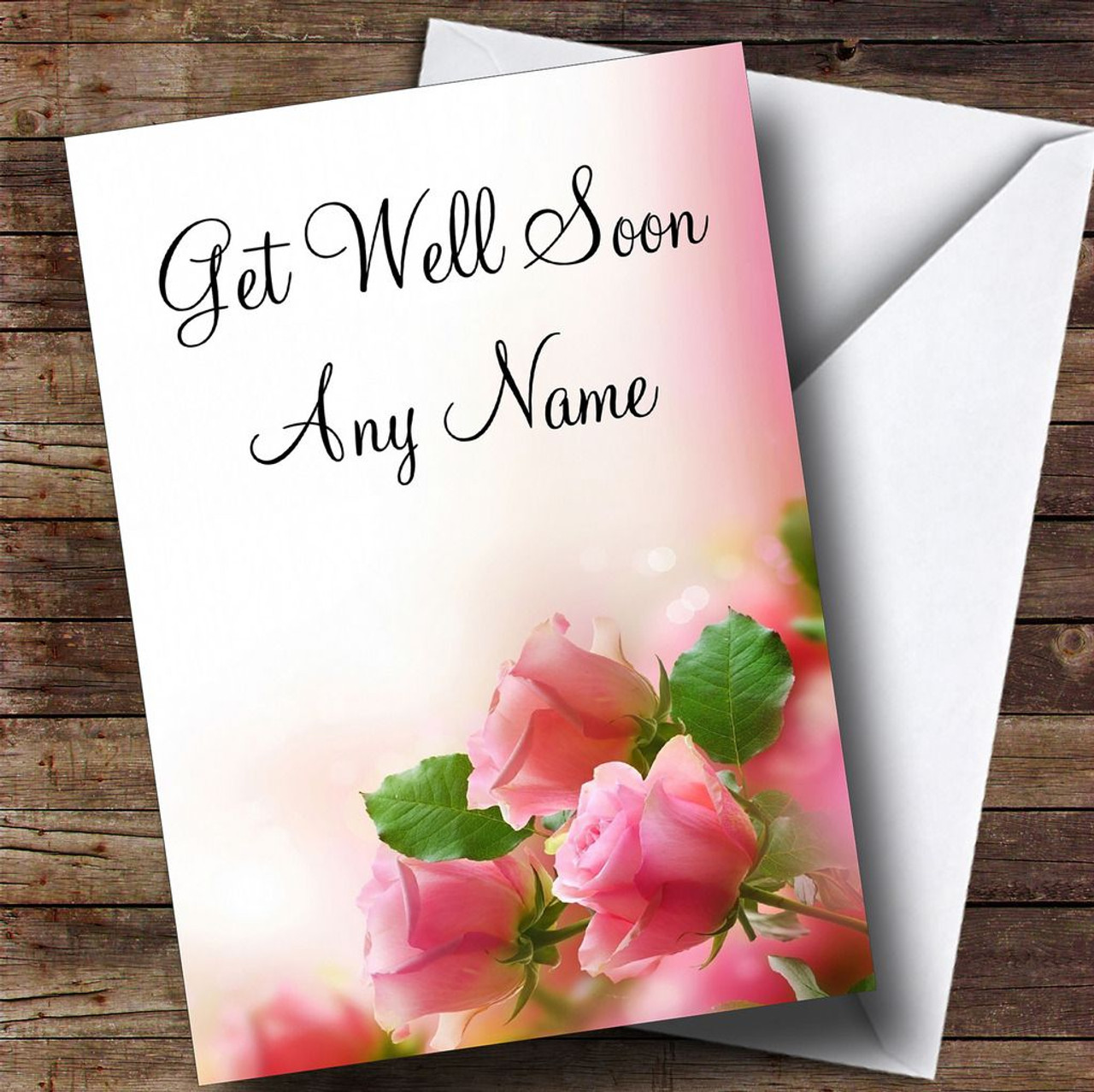 Beautiful Soft Pink Pastel Roses Personalised Get Well Soon Card