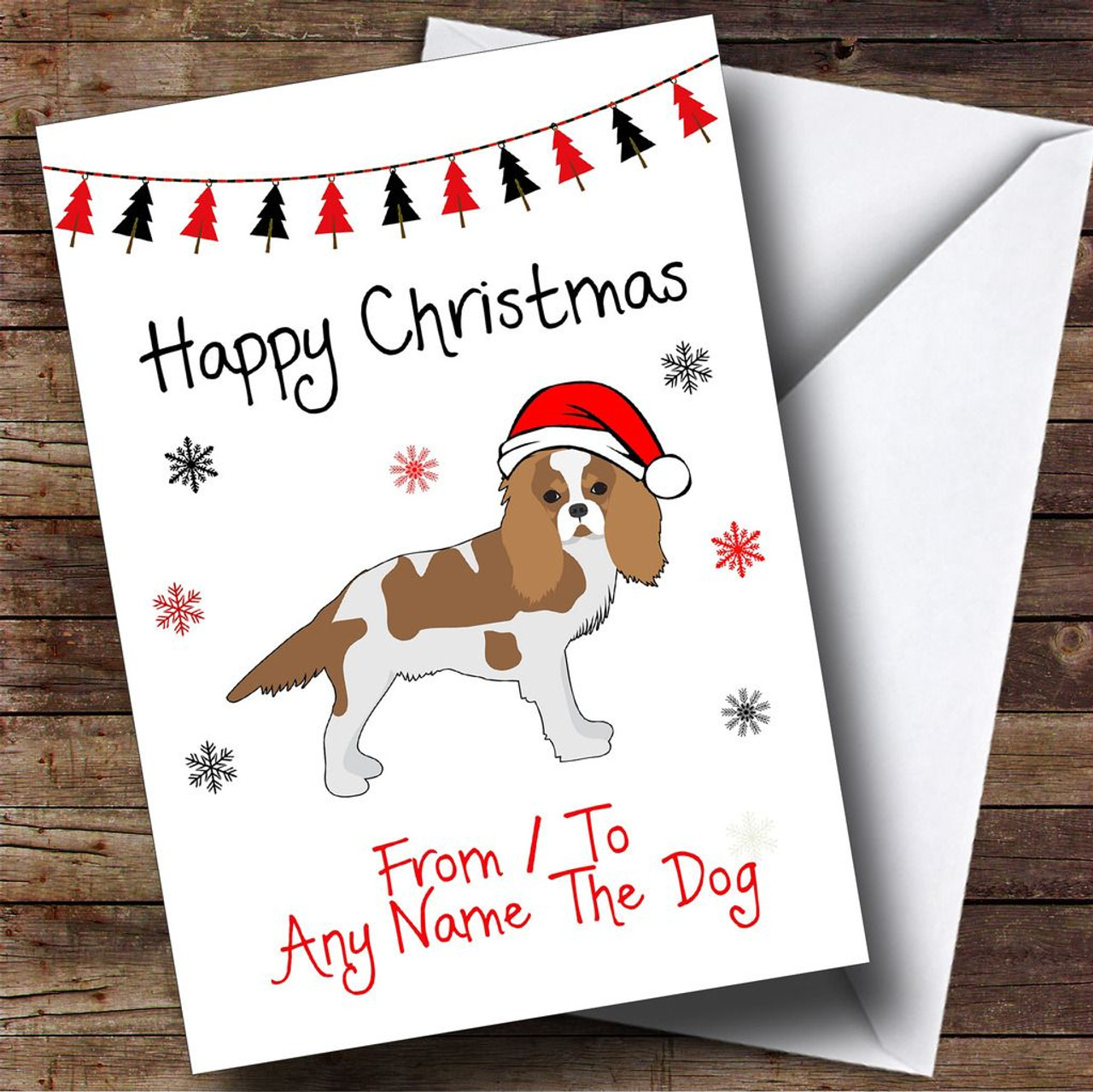 Spaniel From Or To The Dog Pet Personalised Christmas Card