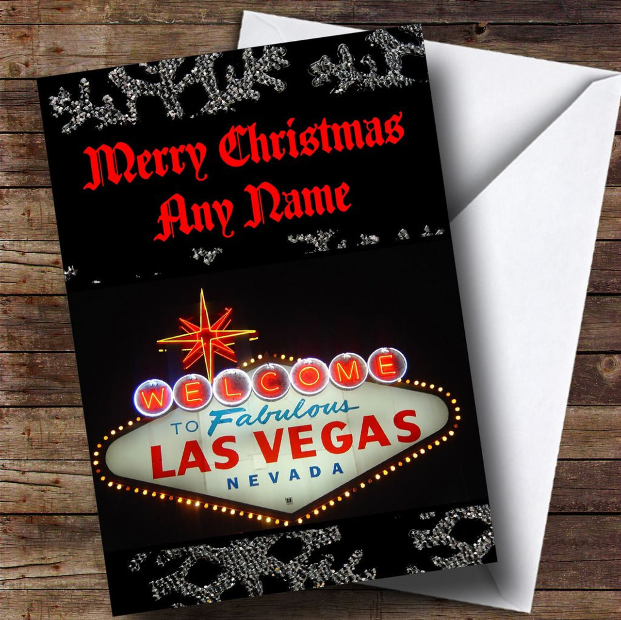 Las Vegas America Personalised Christmas Card