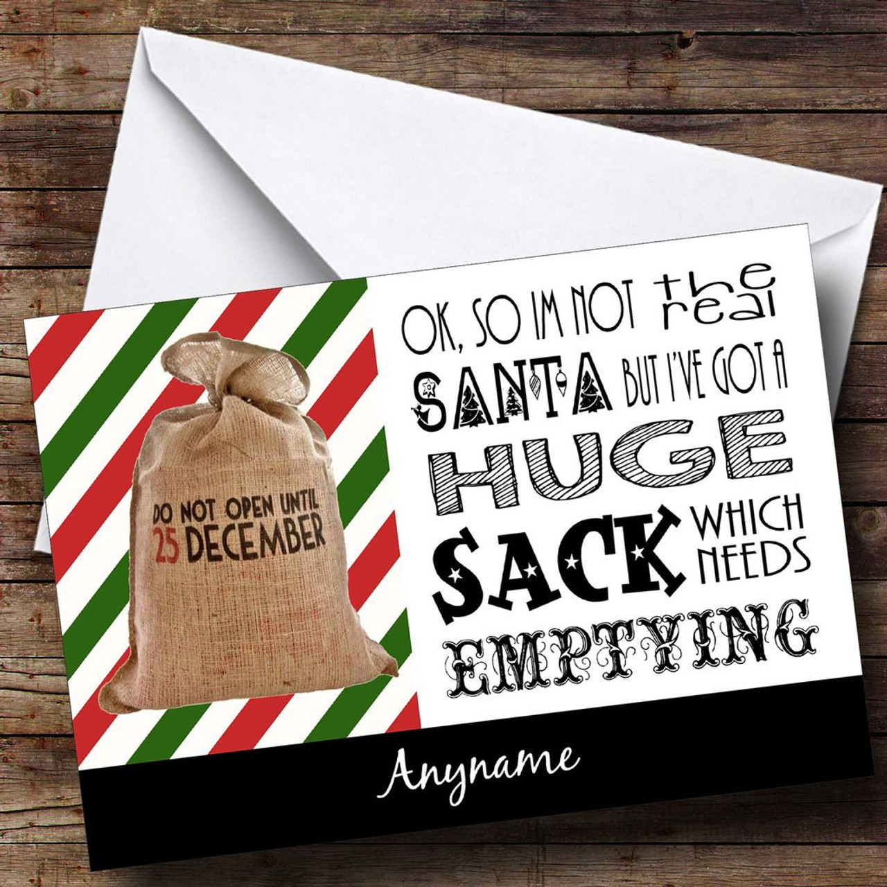 Huge Christmas Card.Funny Santa S Huge Sack Personalised Christmas Card
