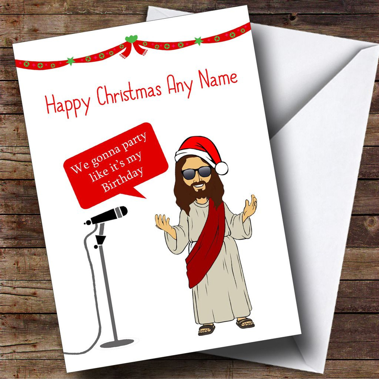 Funny Jesus Party Personalised Christmas Card