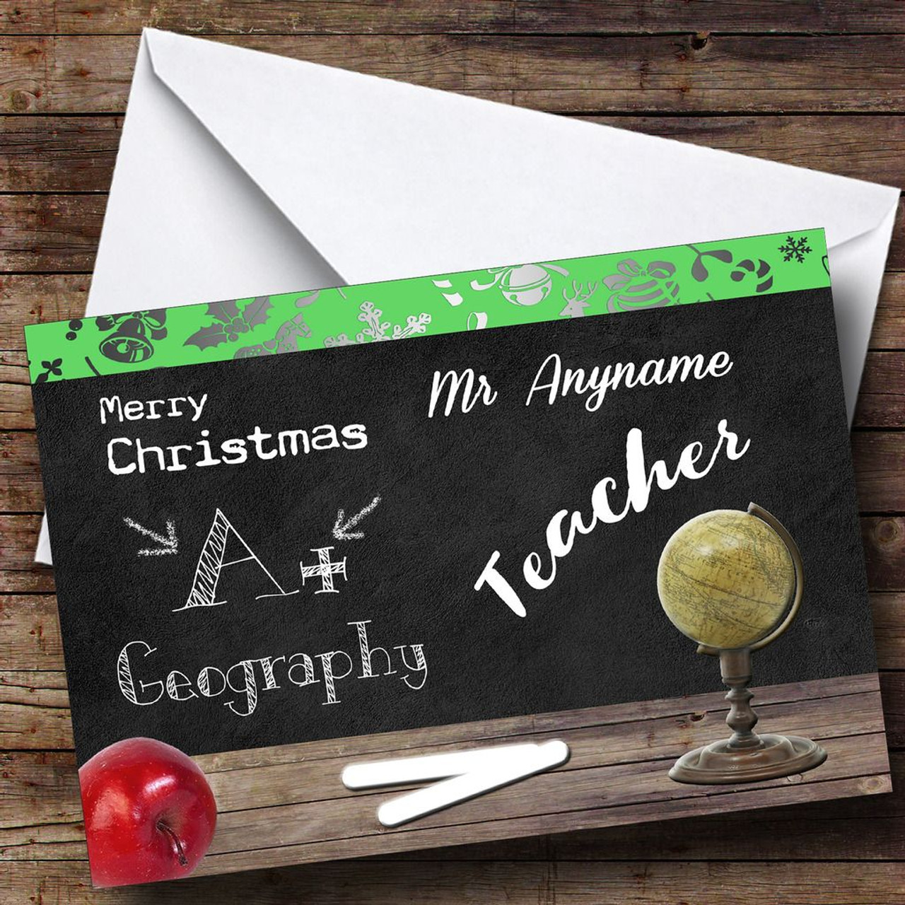 Christmas Cards For Teachers.Geography Teacher Personalised Christmas Card