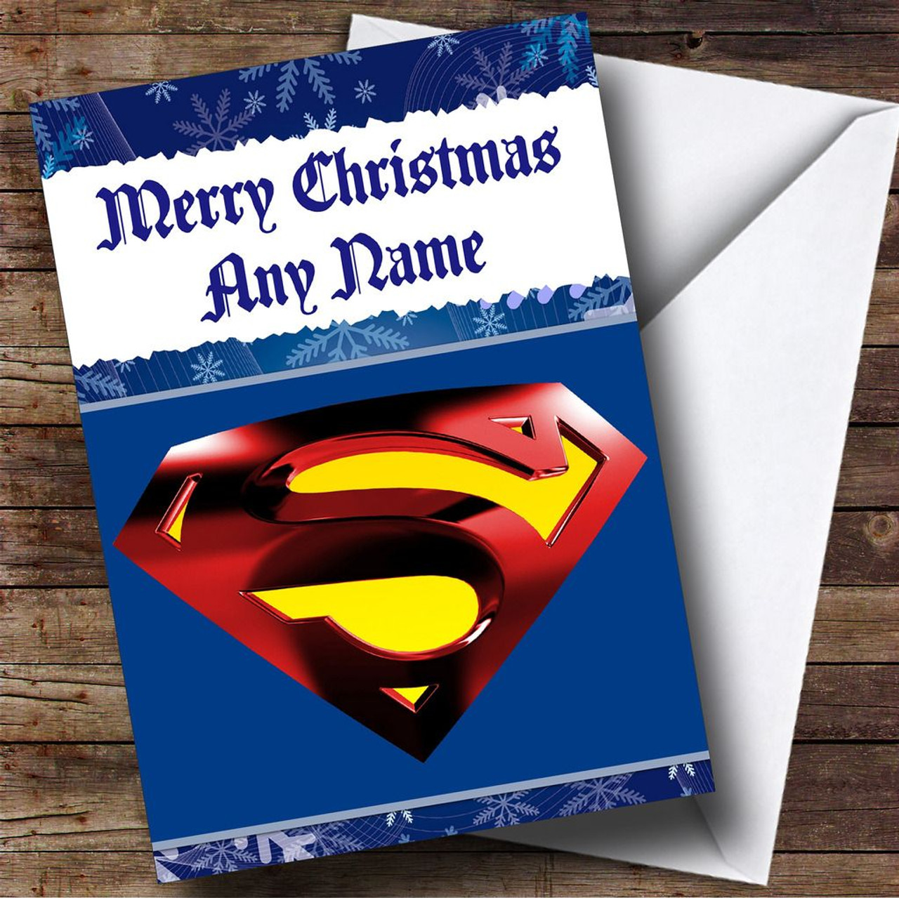 Superman Badge Blue Personalised Christmas Card - The Card Zoo