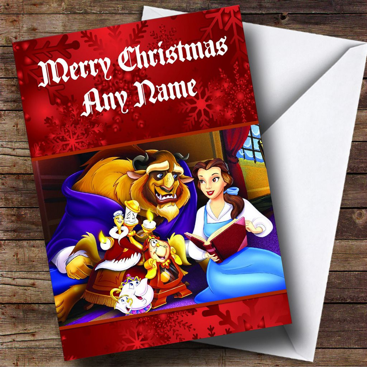Beauty And The Beast Christmas.Beauty And The Beast Personalised Christmas Card