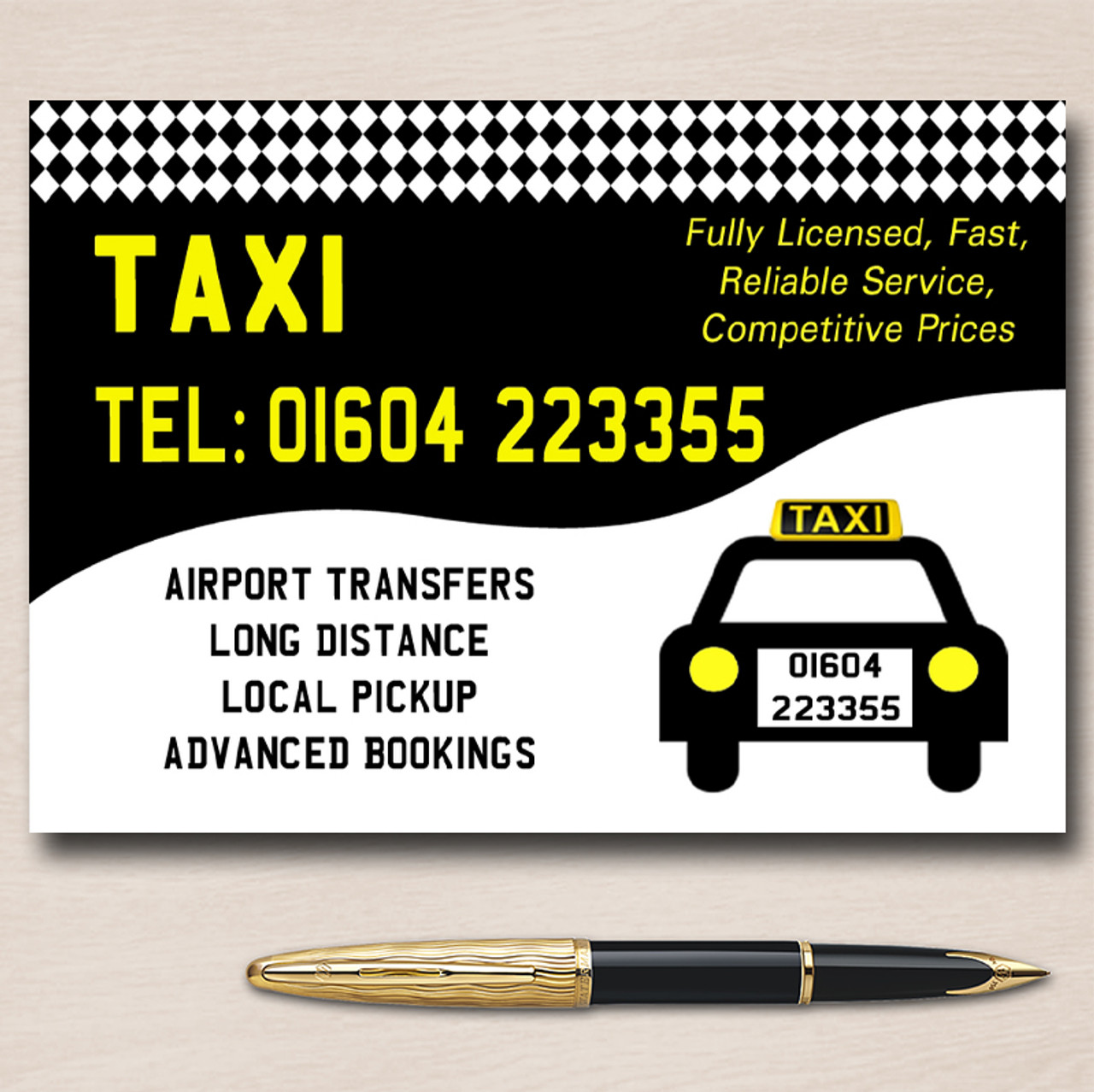Taxi Black Cab Personalised Business Cards The Card Zoo