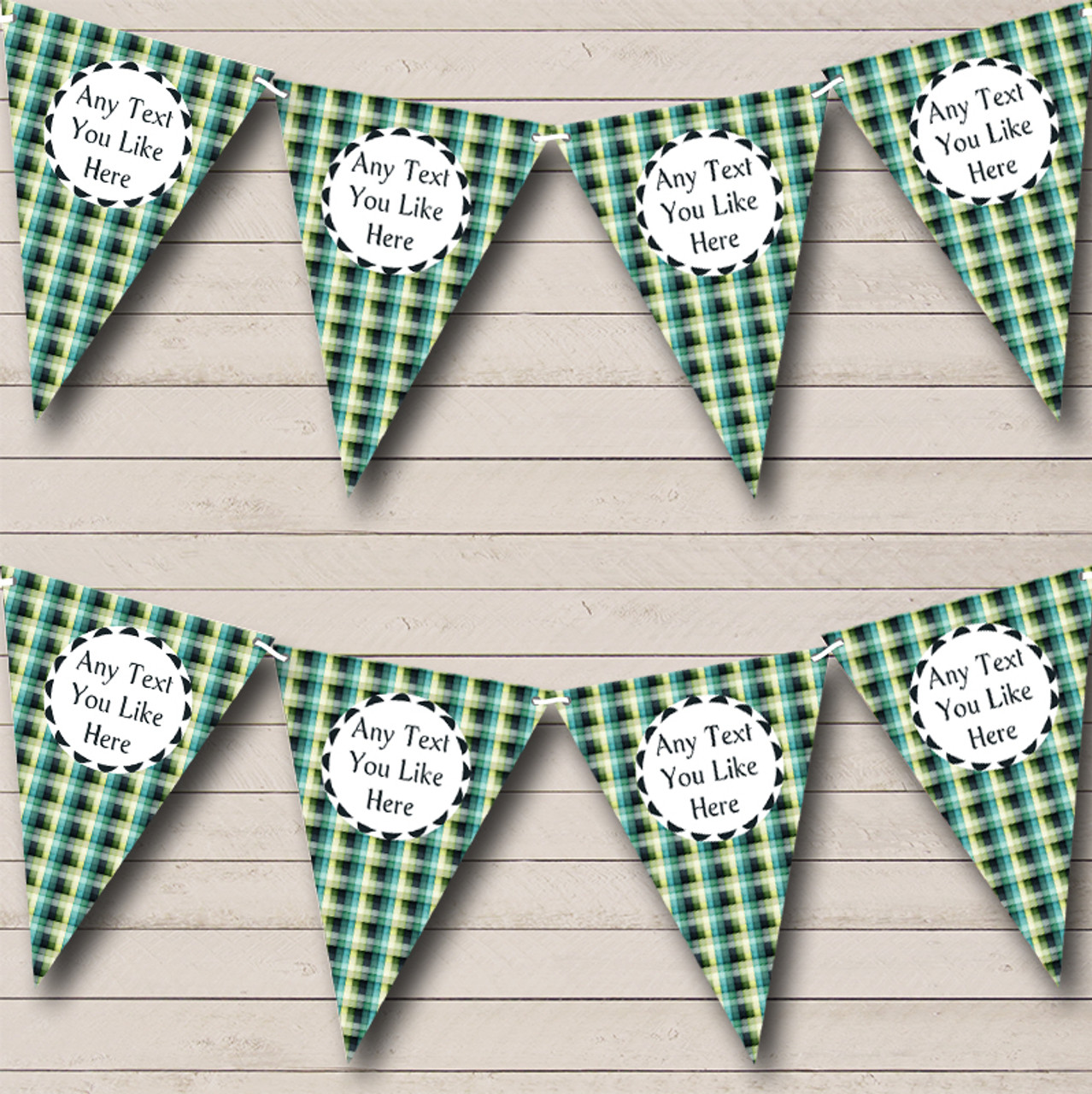 Shades Of Blue Green Squares Personalised Birthday Party Bunting The Card Zoo
