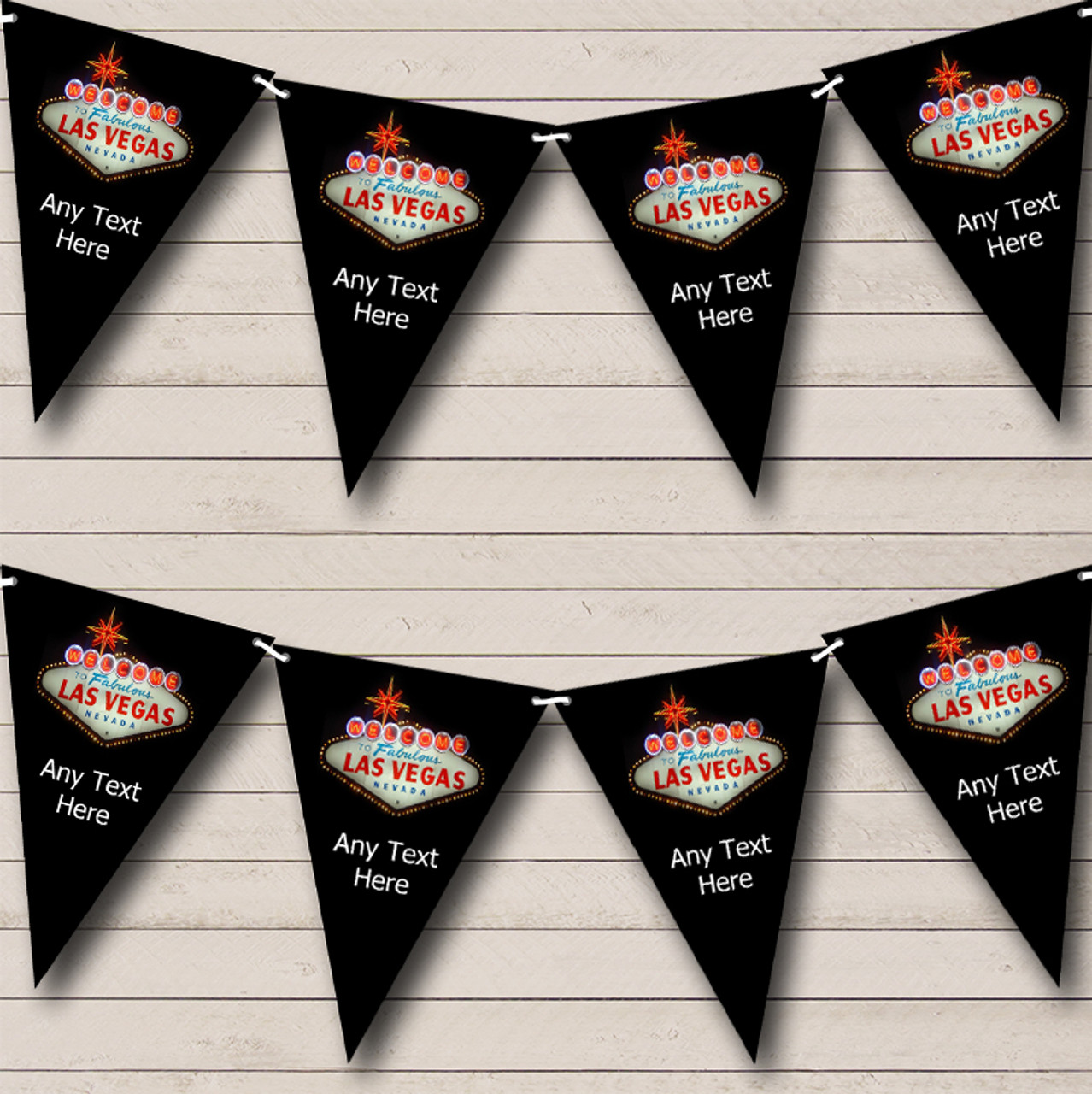 Las Vegas Black Personalised Birthday Party Bunting