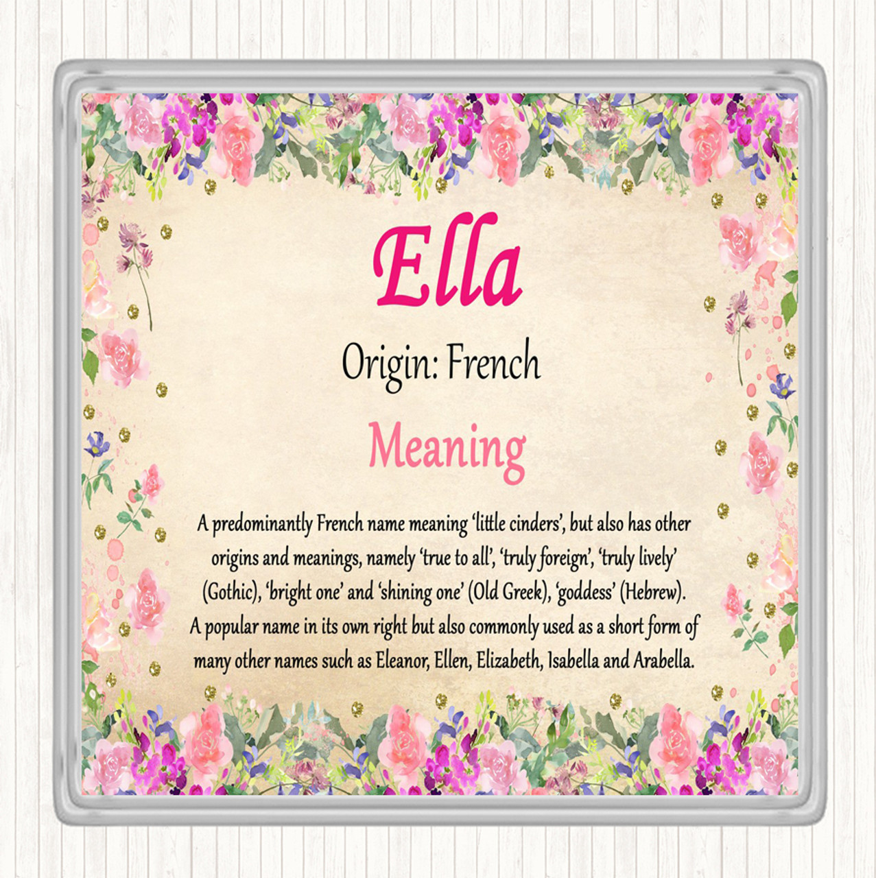 Ella Name Meaning Drinks Mat Coaster Floral The Card Zoo