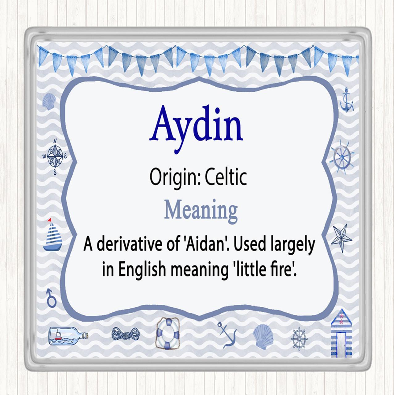 Aydin Name Meaning Drinks Mat Coaster Nautical